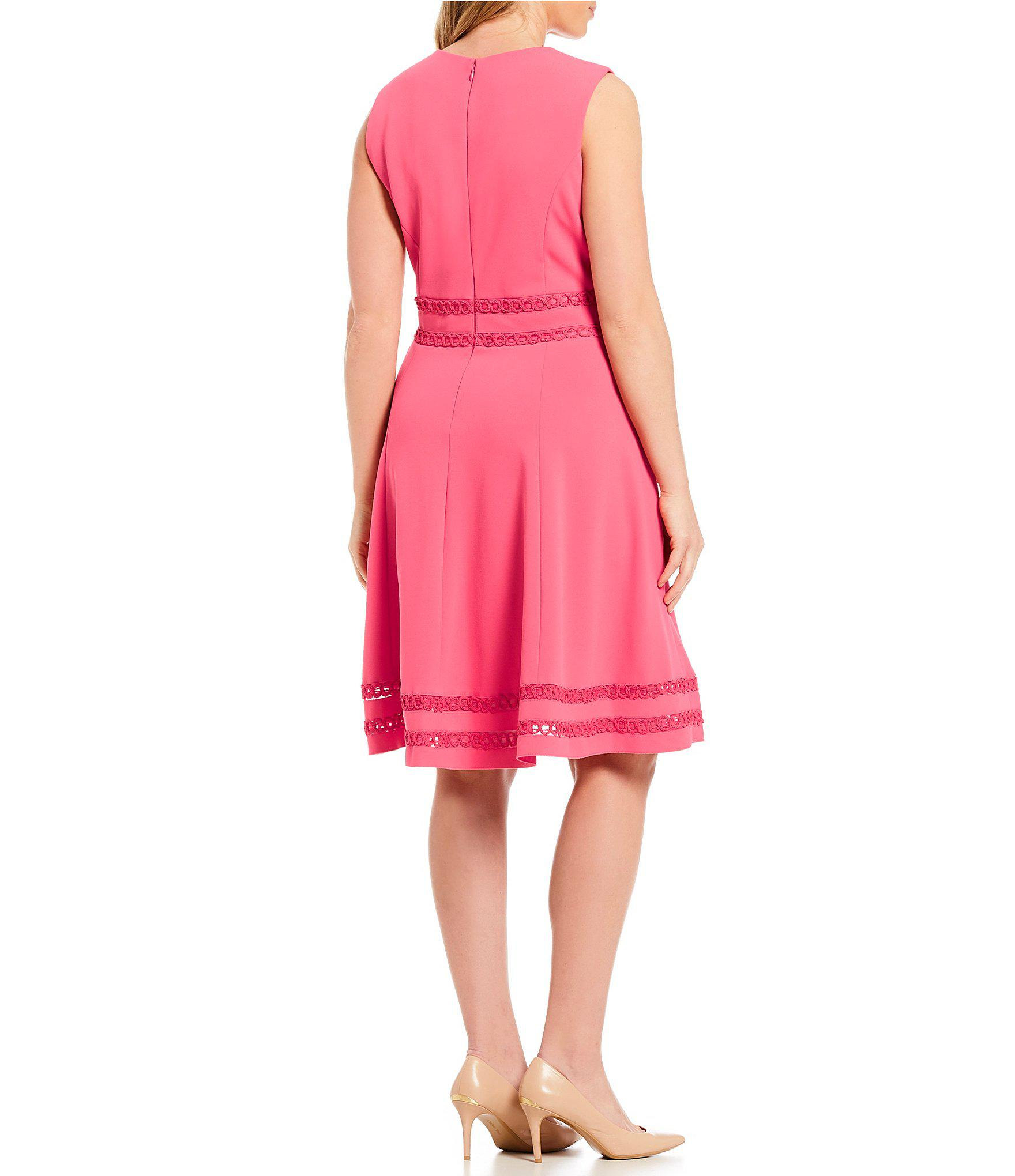 0ee2b924893 Calvin Klein Plus Size Lace Trim A-line Dress in Pink - Lyst