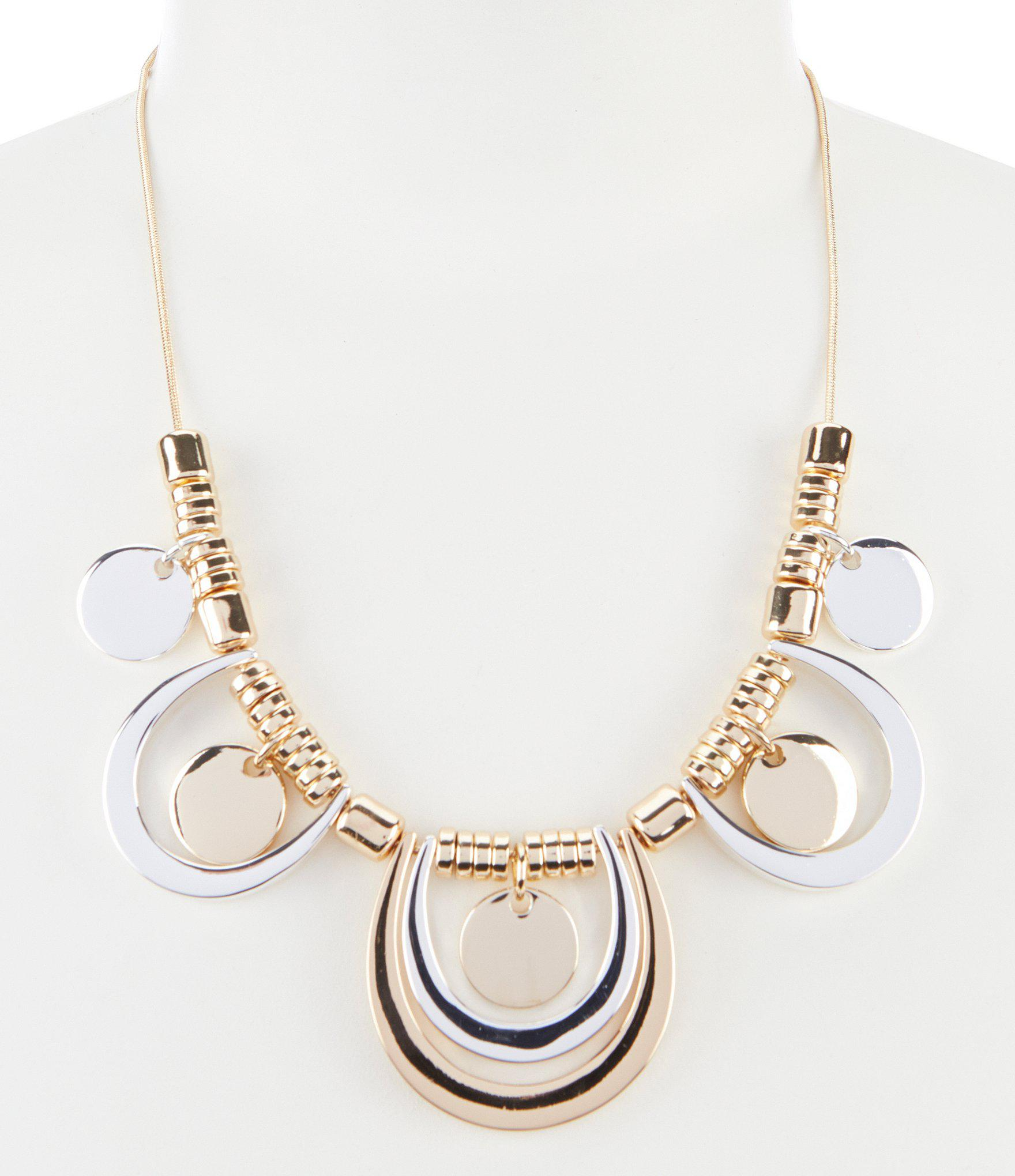 0bc26a39ae3f2 Lyst - Dillard's Two Tone Statement Necklace in Metallic