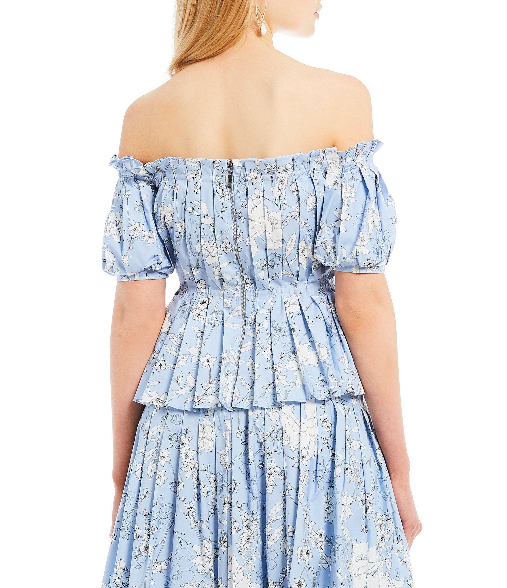 2a3b87e09759f Antonio Melani - Blue Kyla Off-the-shoulder Floral Print Peplum Blouse -  Lyst. View fullscreen