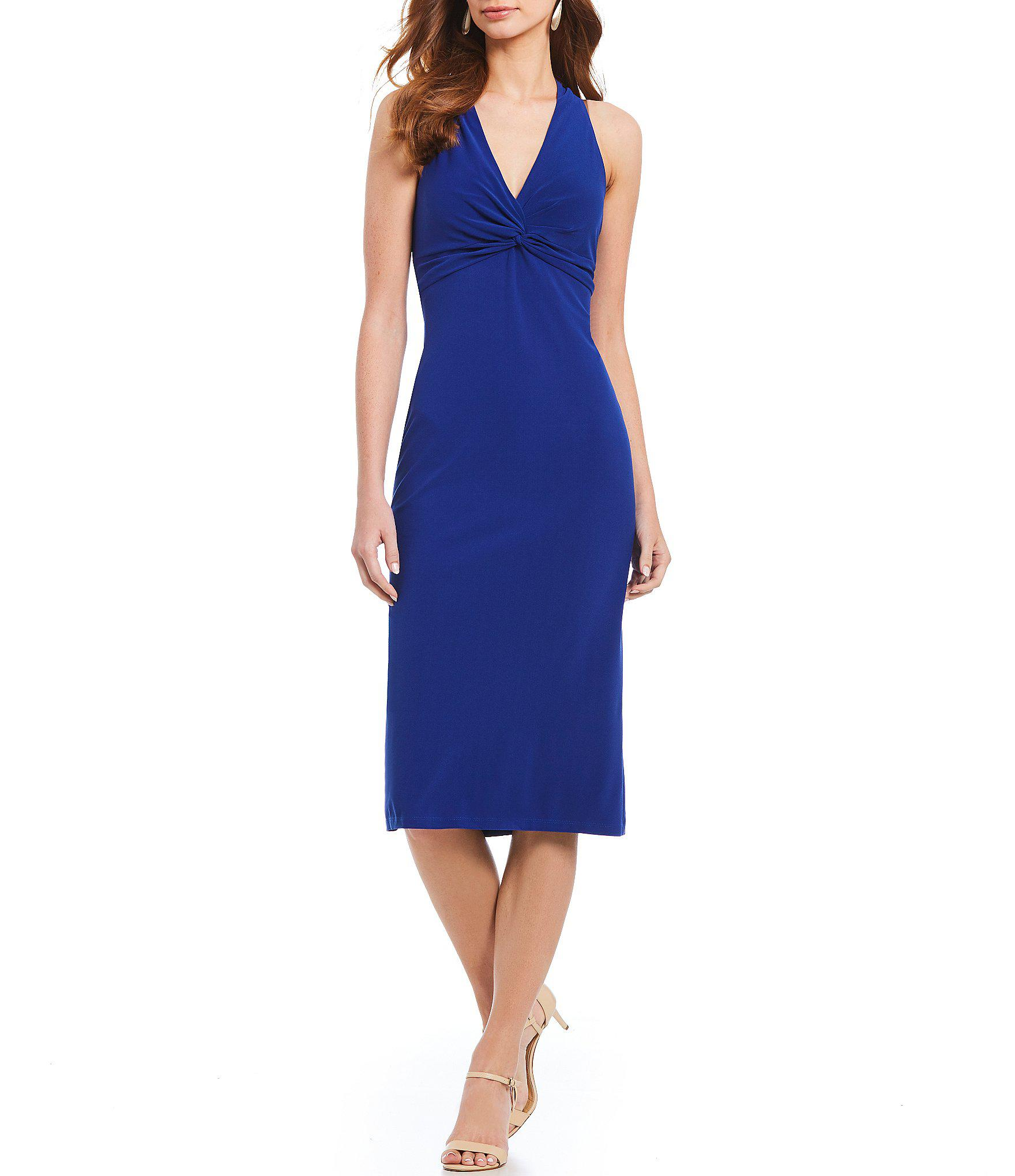 Lyst - Maggy London V Neck Knot Front Crepe Midi Dress in Blue 3ec2b855d