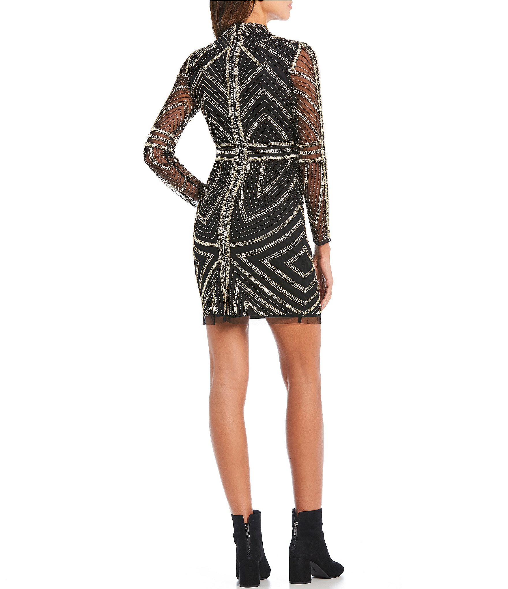 adaef55b880 Gianni Bini Jess Mockneck Metallic Sequin Embellished Mini Dress in ...