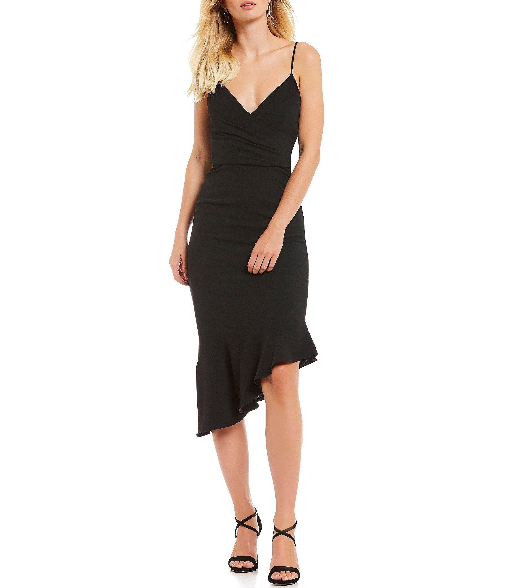 ecfdc41d8f Gianni Bini. Women s Black Lee V-neck Spaghetti Strap Fluted Asymmetric Hem  Midi Sheath Dress