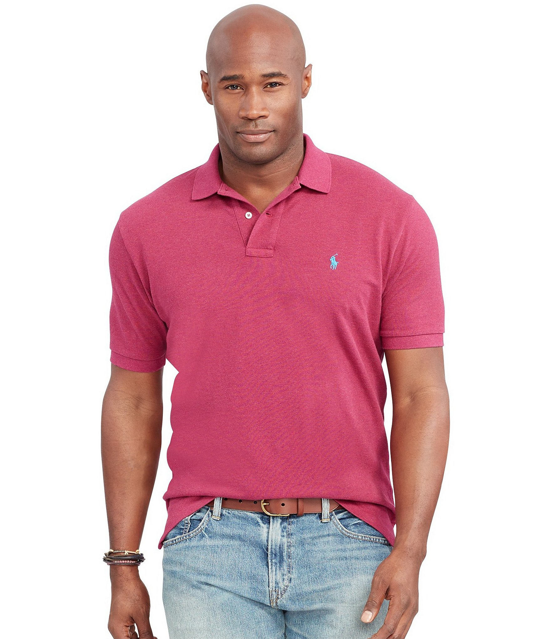 Polo Ralph Lauren. Men\u0026#39;s Pink Big \u0026amp; Tall Classic-fit Short-sleeved Cotton Mesh ...