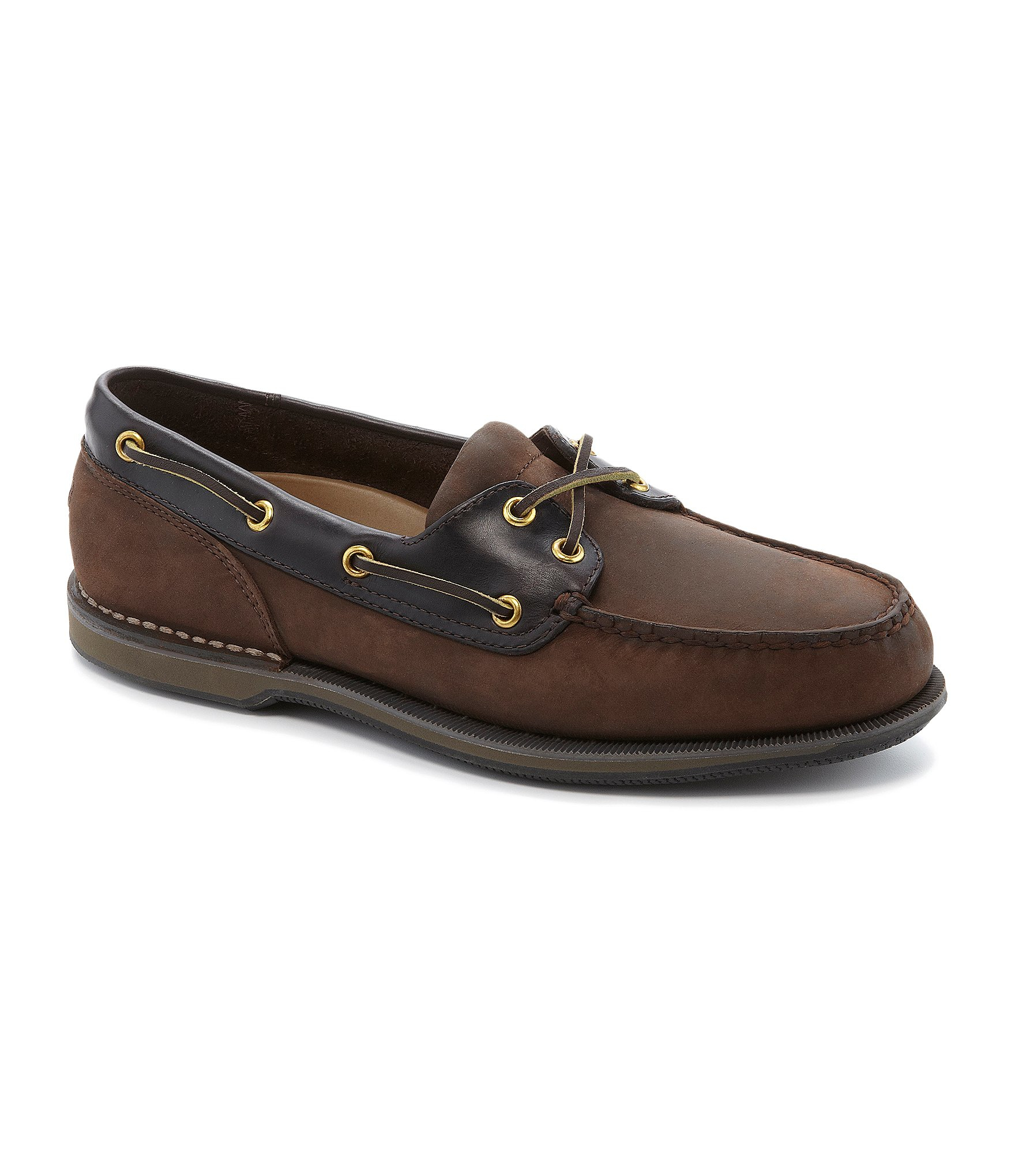 rockport perth casual boat shoes in brown for lyst