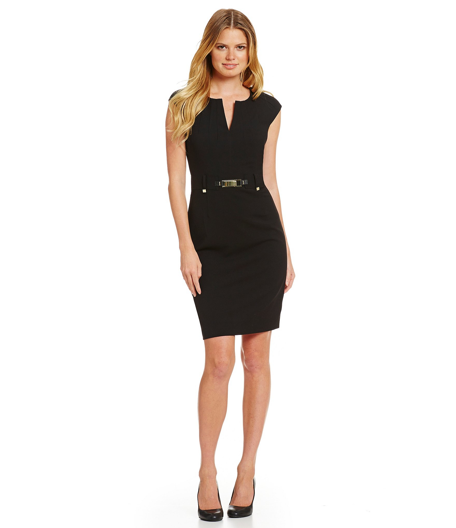 calvin klein luxe stretch belted shift dress in black lyst