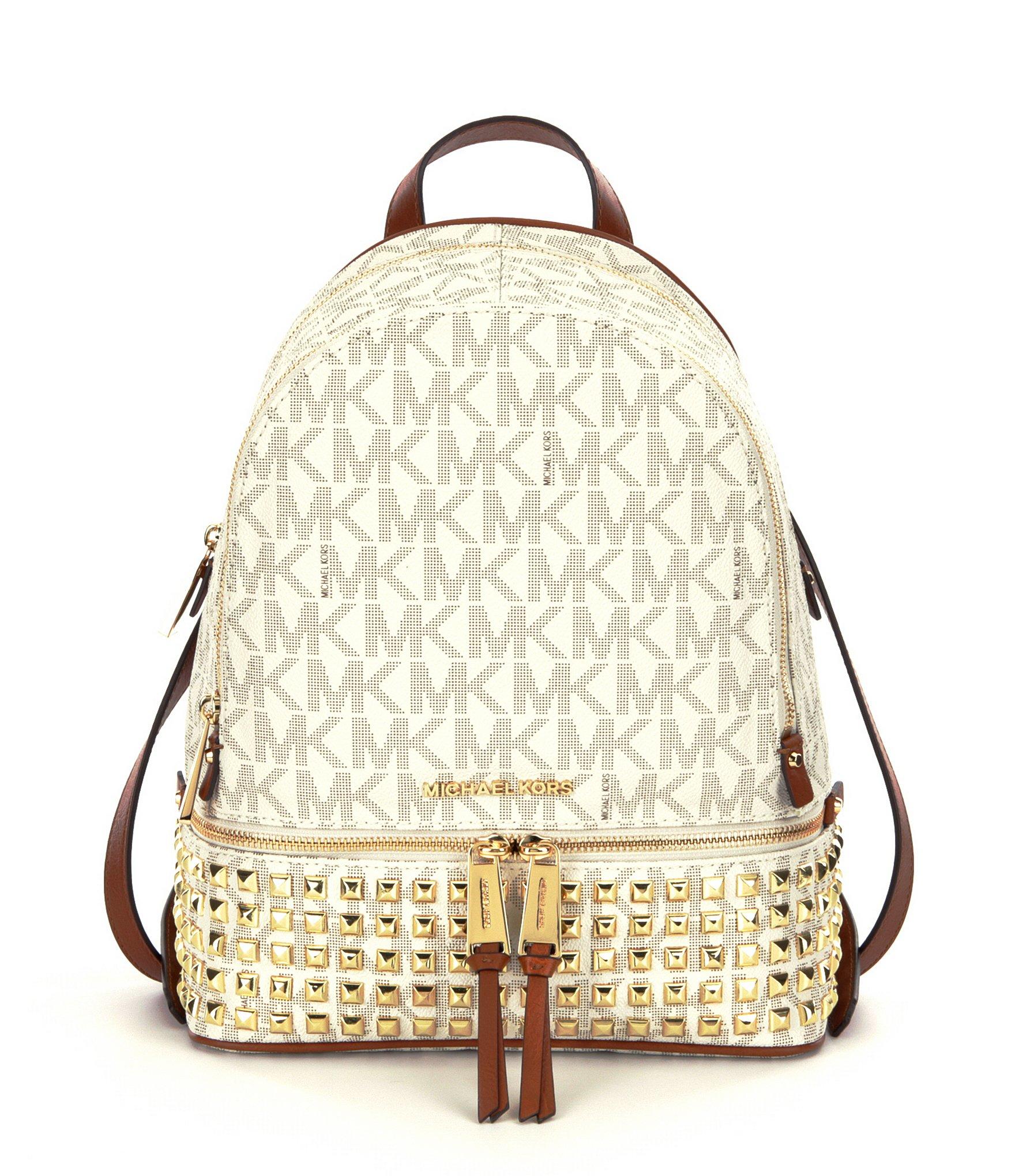 bfeb555c4e14 ... cheap lyst michael michael kors rhea signature studded backpack in  brown 052ed 18e63