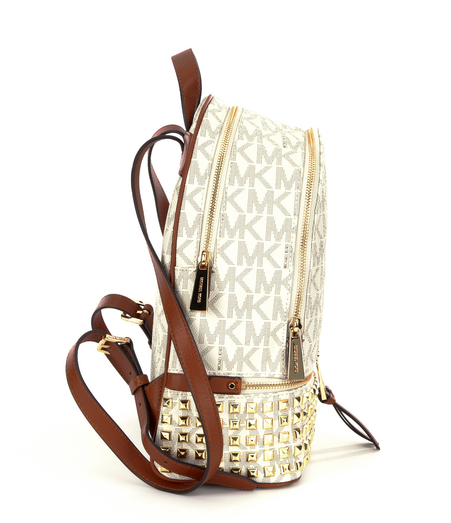 c76692d37d57 Lyst - MICHAEL Michael Kors Rhea Signature Studded Backpack in Brown