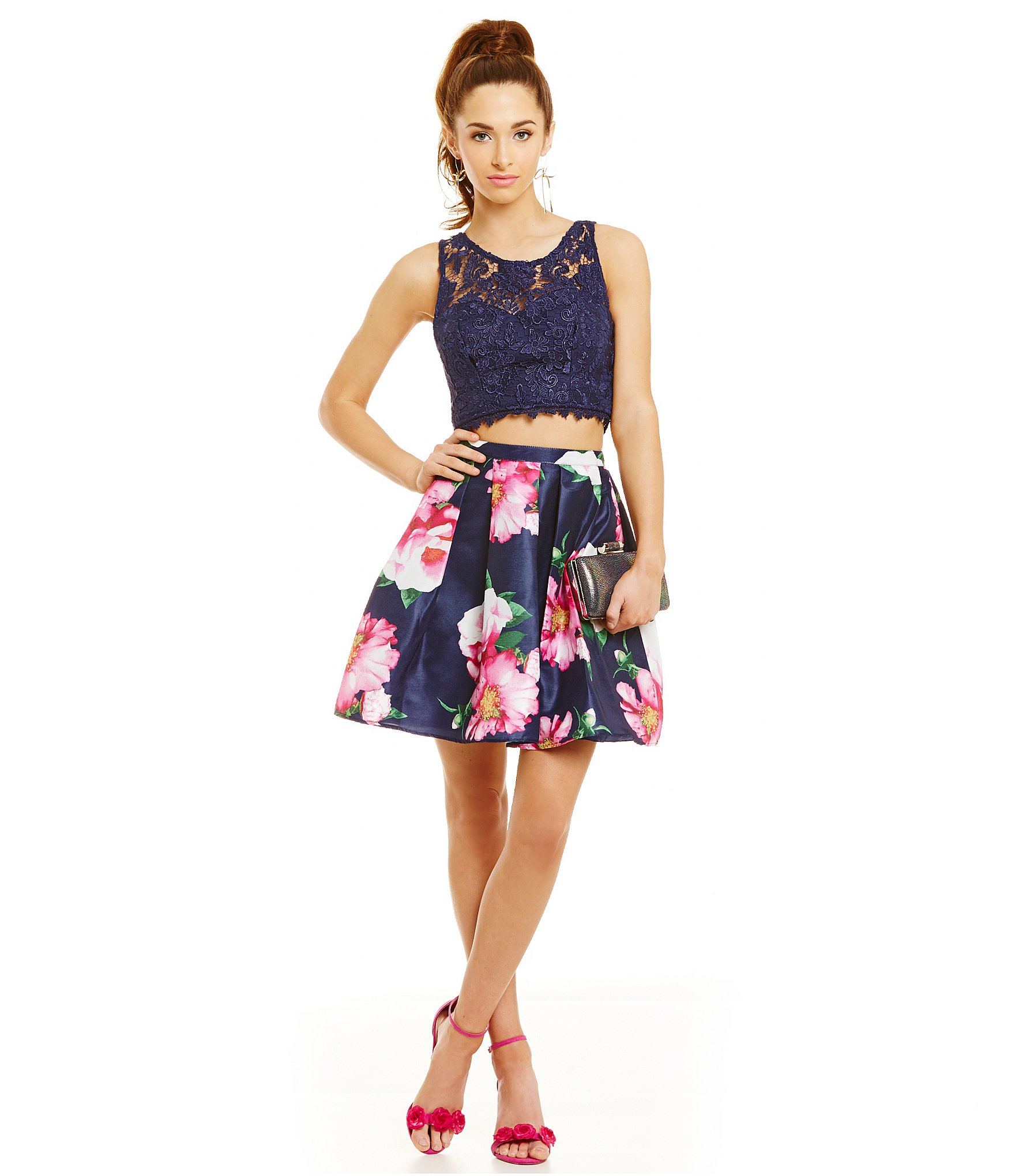 Sequin hearts Lace To Floral Skirt Crop-top Two-piece Dress - Lyst