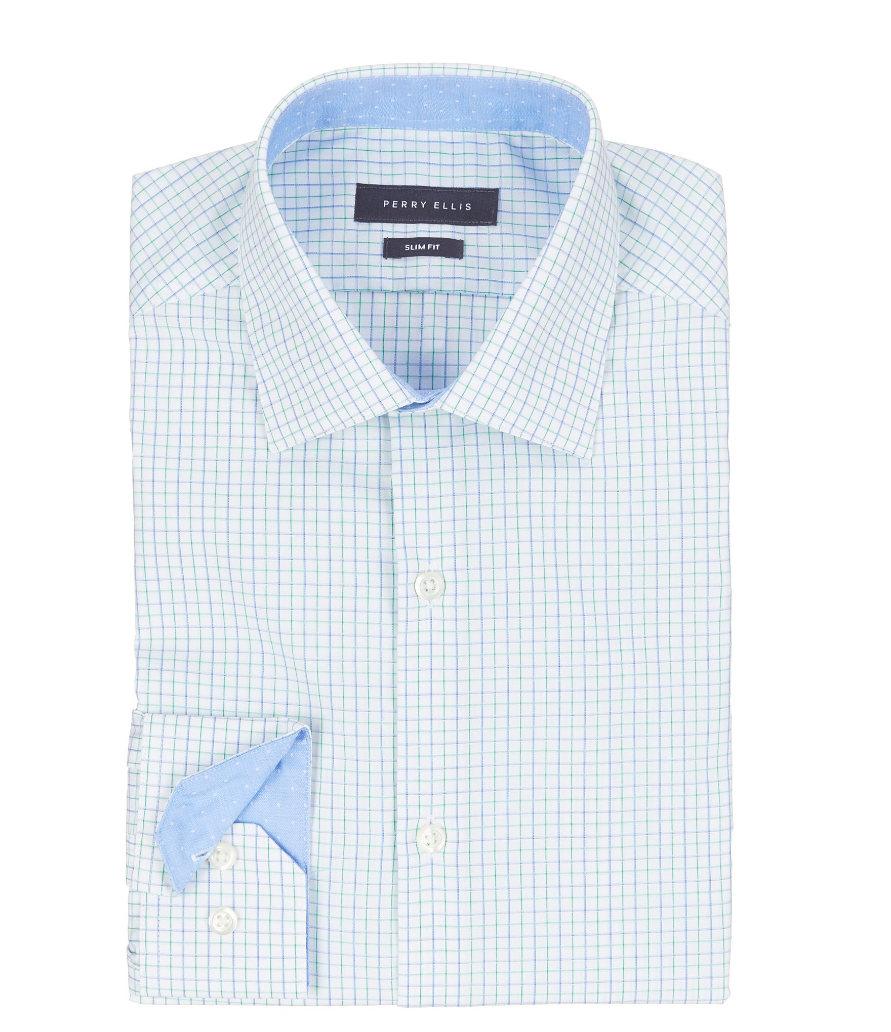 Perry ellis checked non iron slim fit spread collar dress for Spread collar slim fit dress shirts