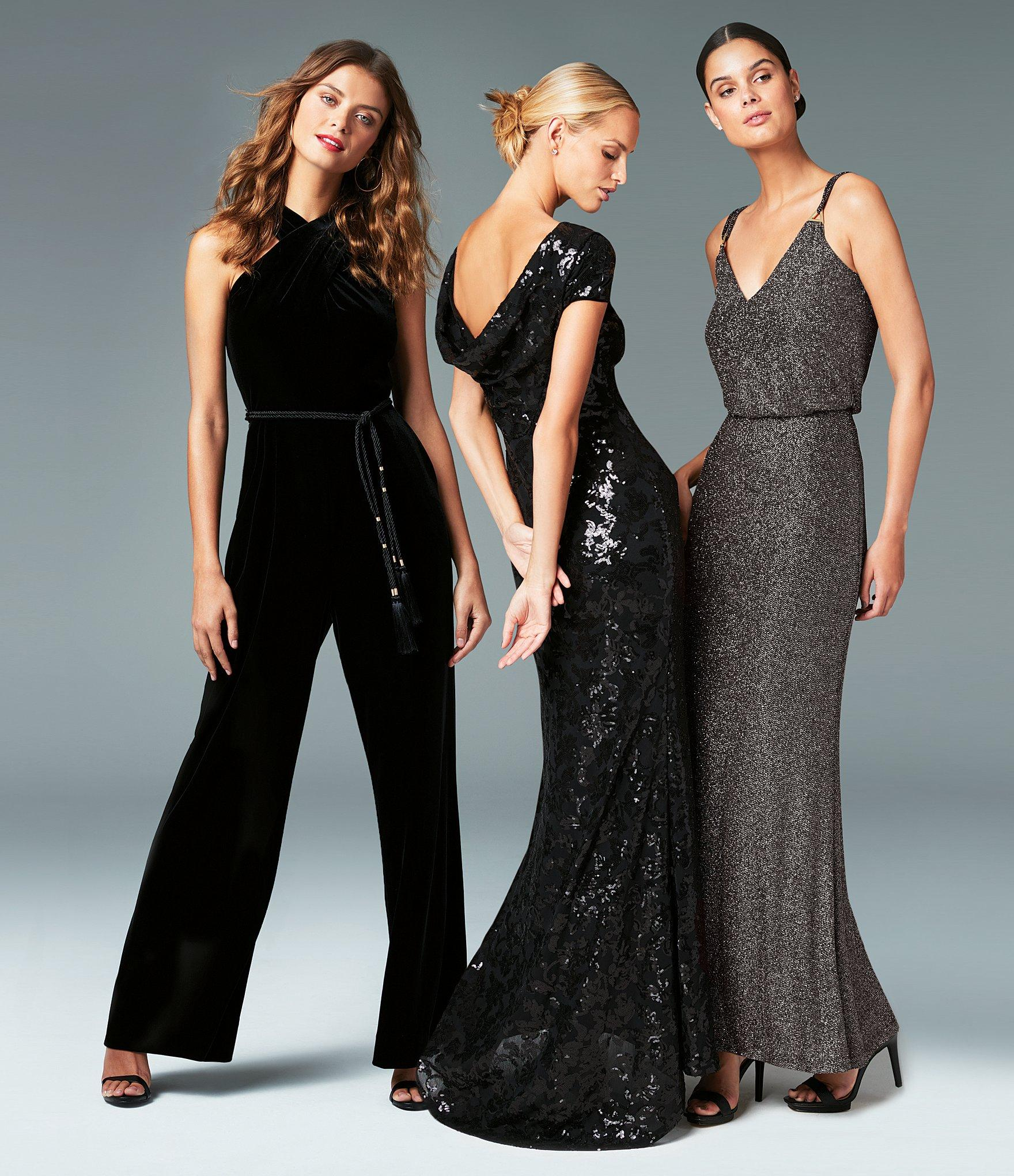 Lyst Calvin Klein Cowl Back Cap Sleeve Sequin Gown In Black