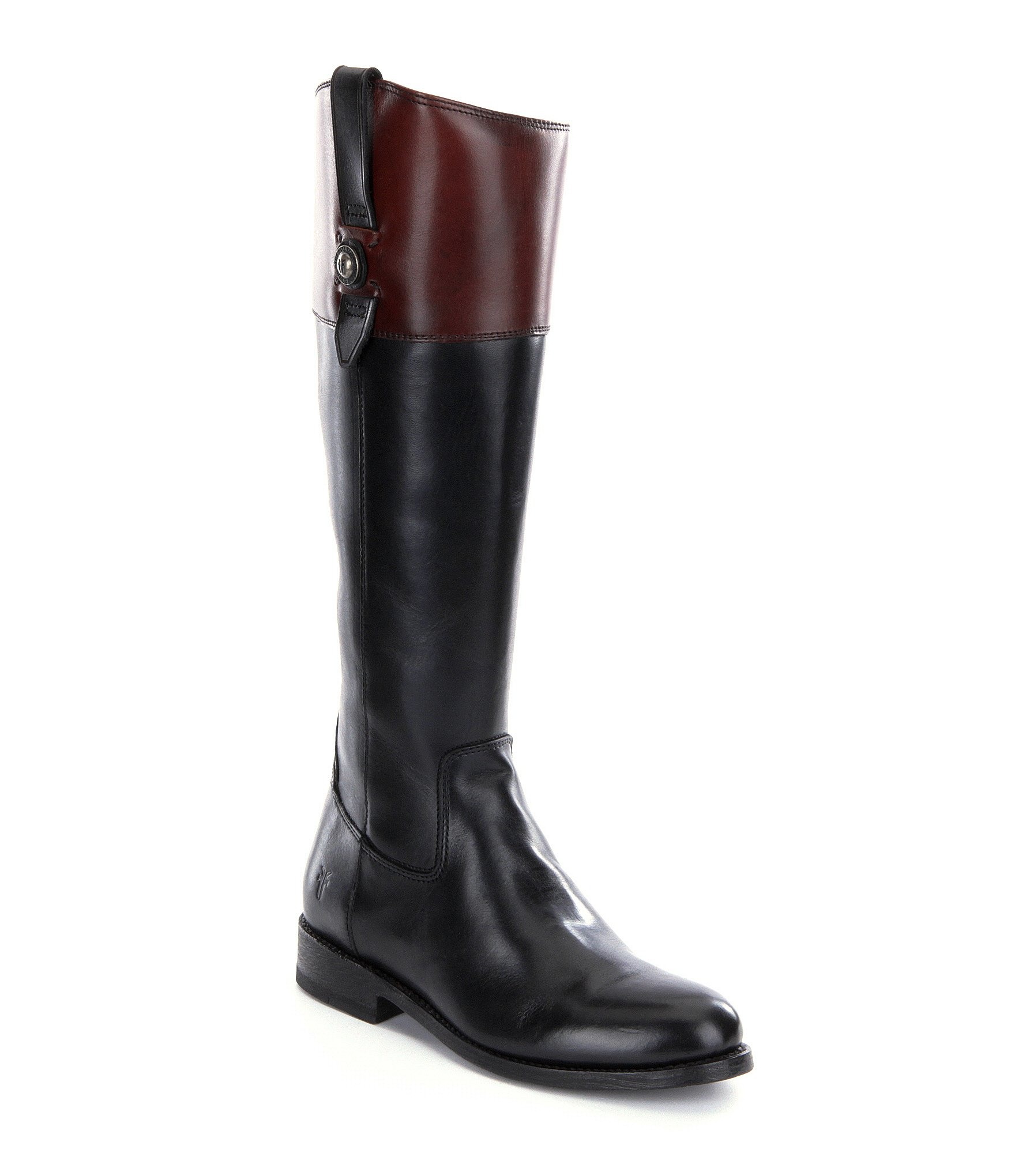 frye button leather zip wide calf