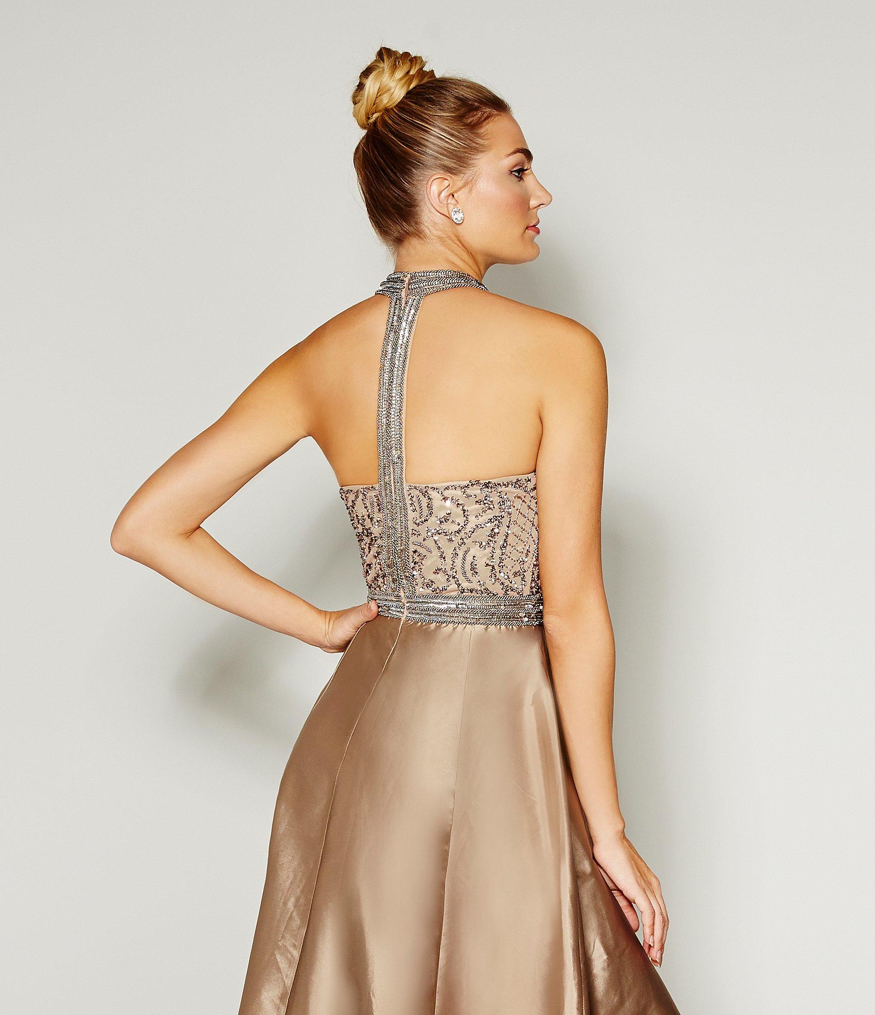 Lyst - Adrianna Papell Beaded Halter Hi-low Gown in Metallic