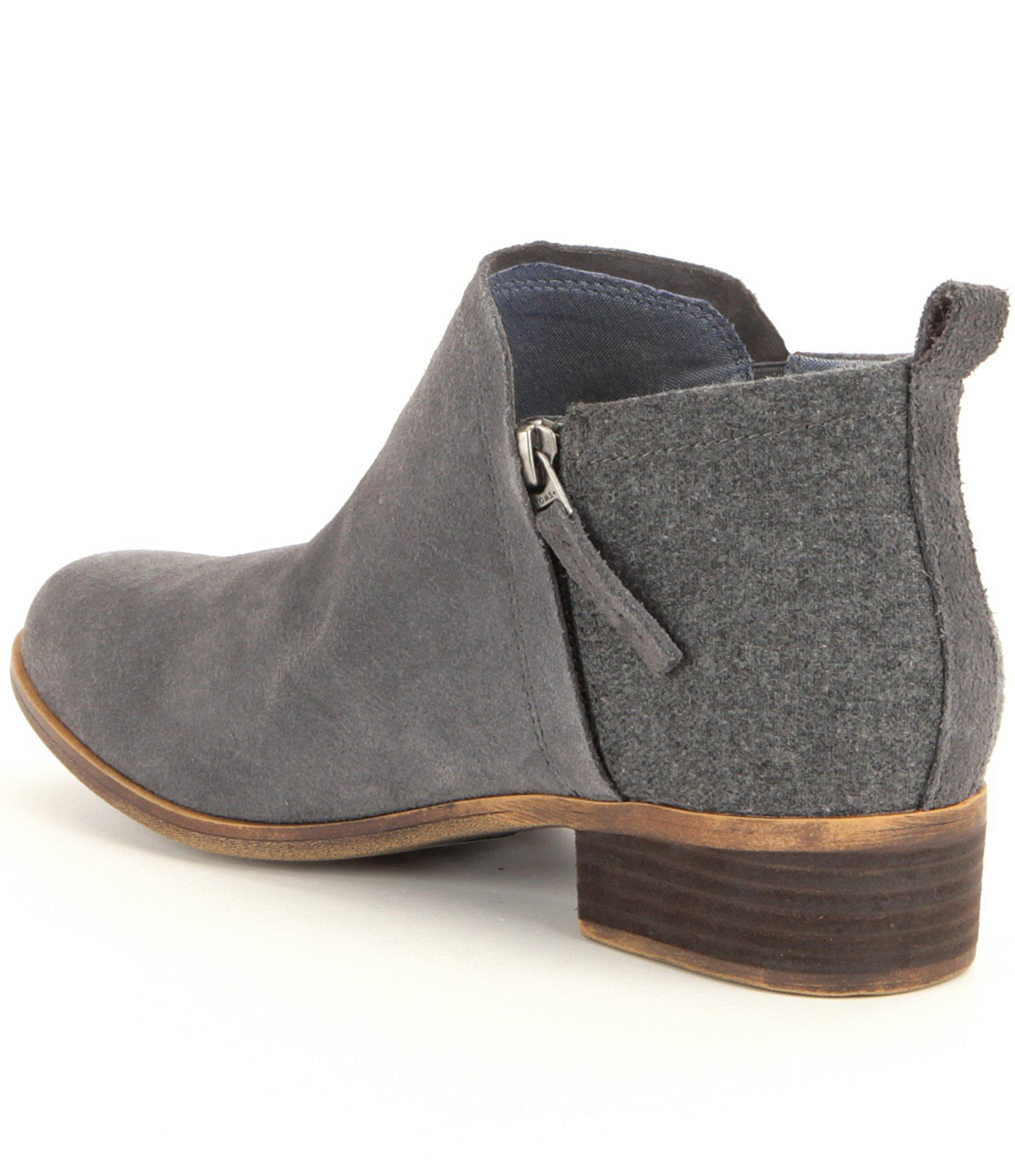 2e20ca5f3c7 Lyst - TOMS Deia Suede And Wool Booties in Gray