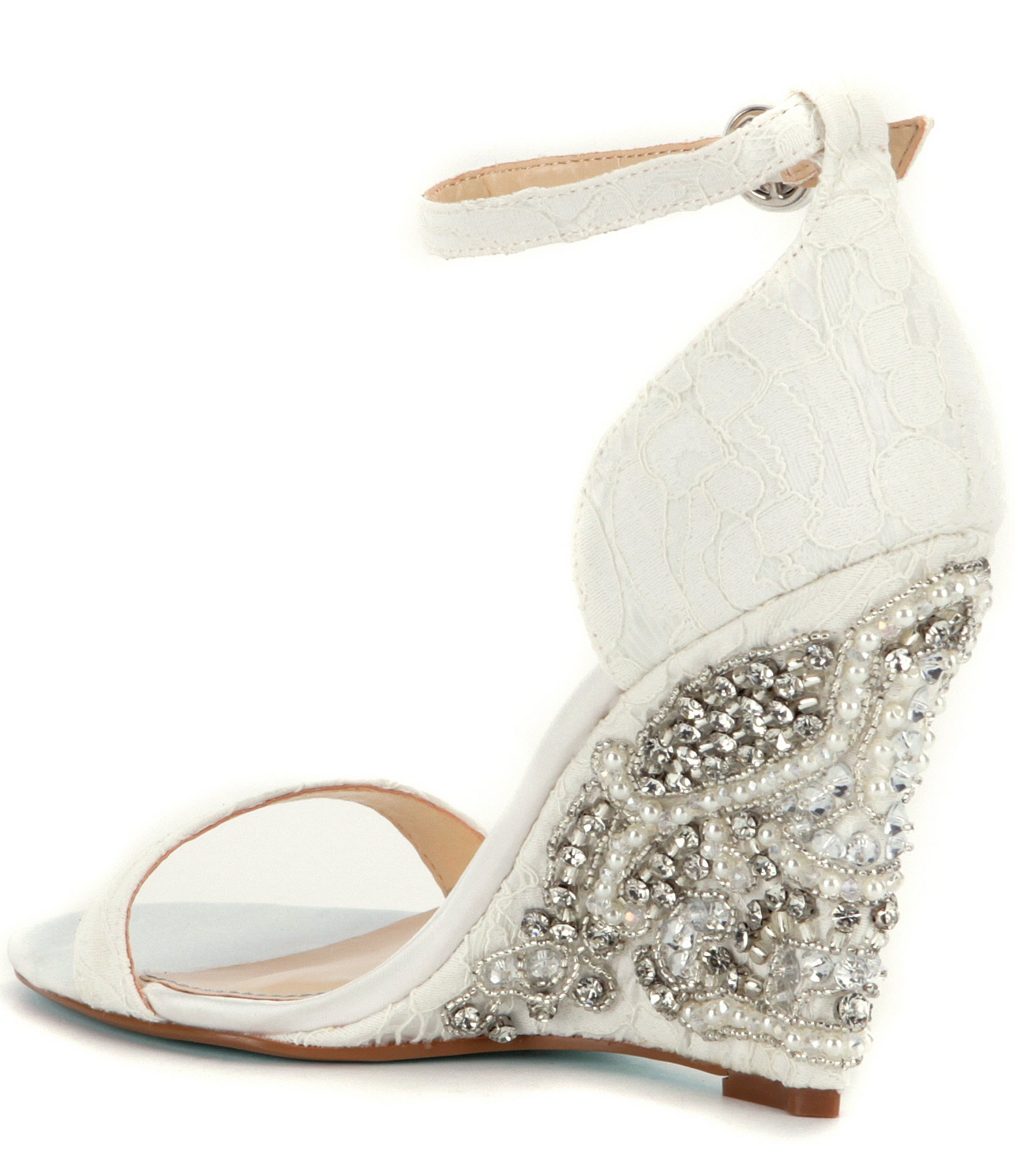 Blue by Betsey Johnson Alisa Lace and Satin Wedge Sandals B6QteipWaF