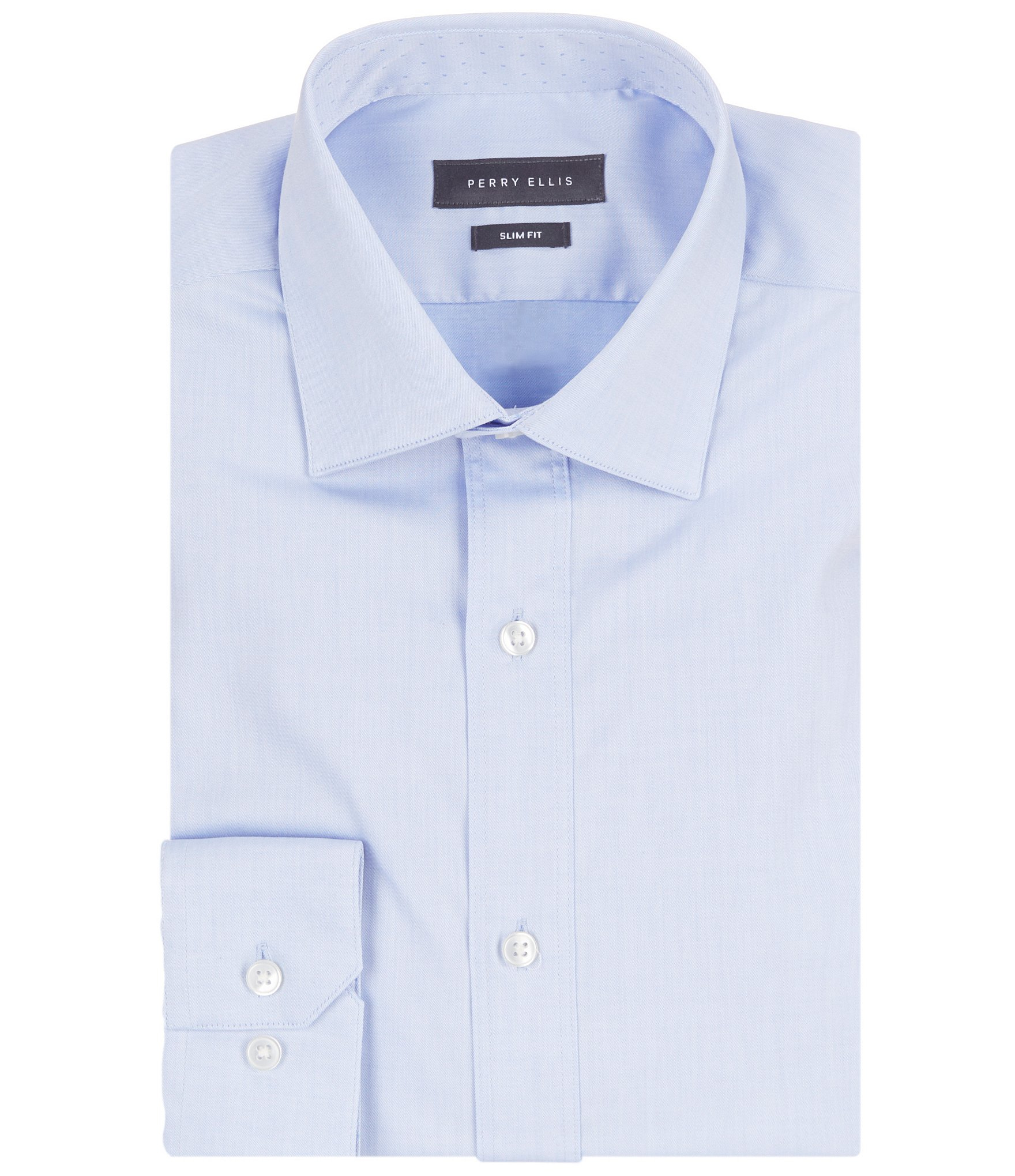Perry ellis non iron slim fit spread collar stretch solid for Slim fit non iron dress shirts