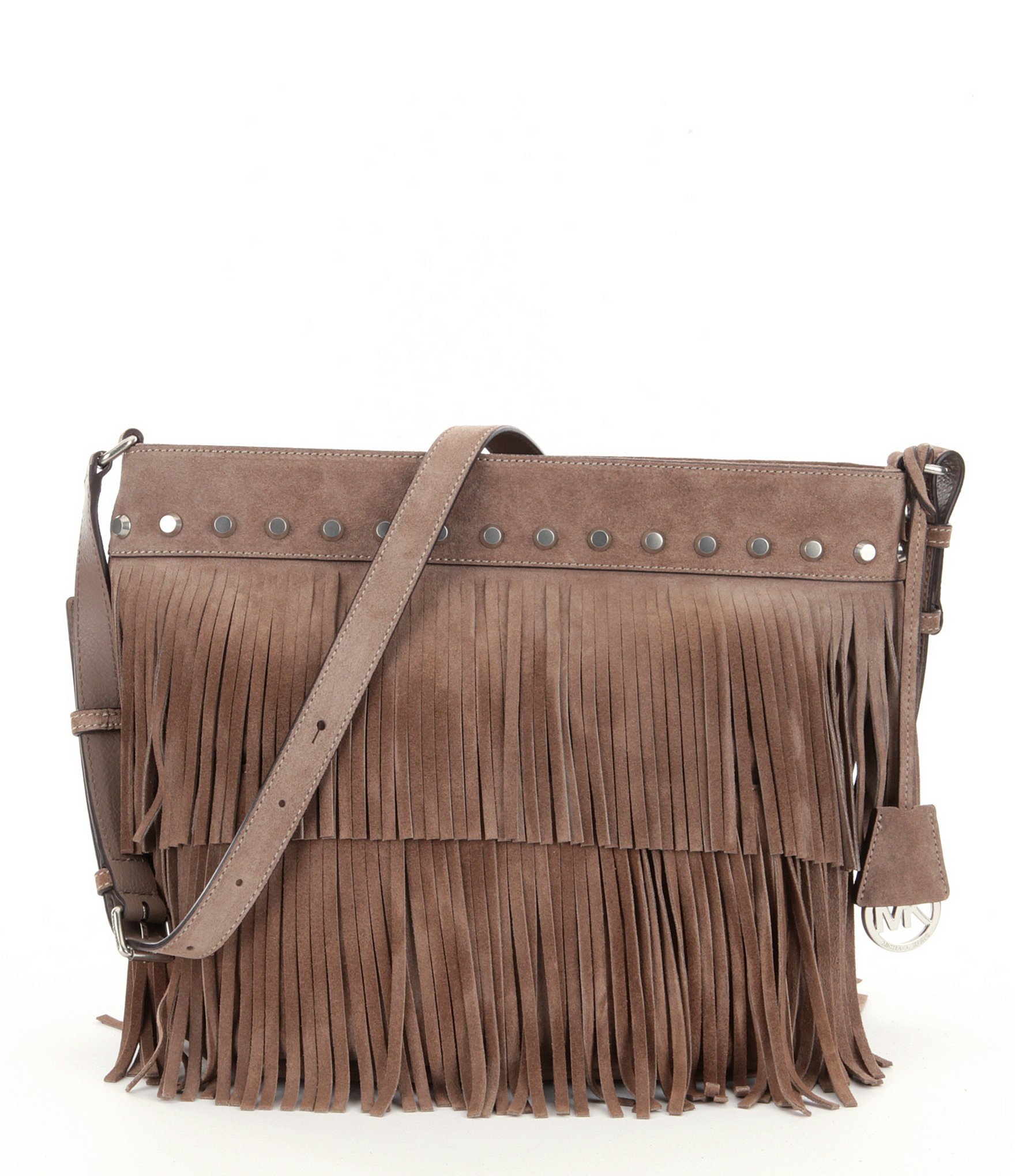 c3bbac11f328 Lyst - MICHAEL Michael Kors Billy Suede Fringe Medium Convertible ...