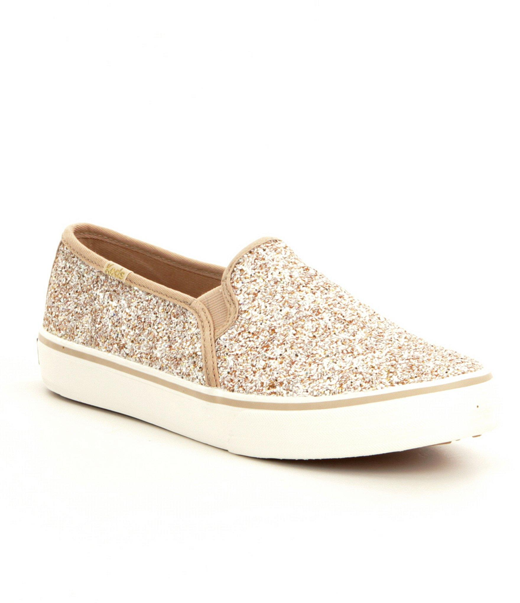 b047876d9256 Lyst - Keds Double Decker Glitter Slip On Sneakers in Metallic