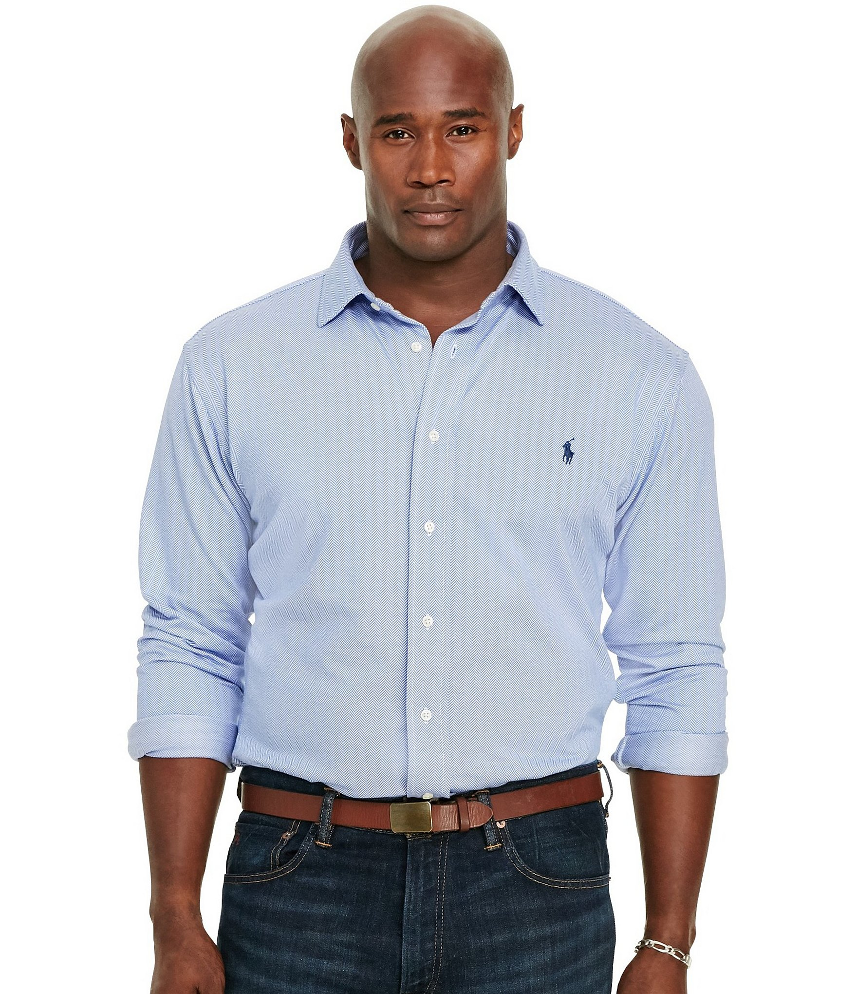 Polo ralph lauren big tall herringbone knit long sleeve for Dress shirts for tall men