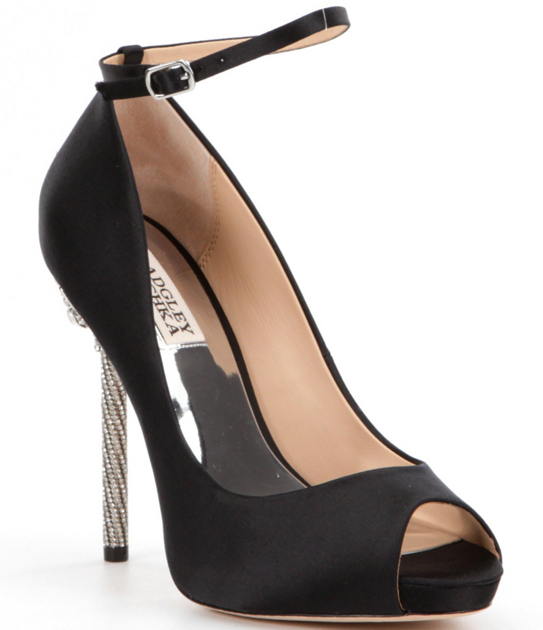 Peep Toe Black Satin Shoes