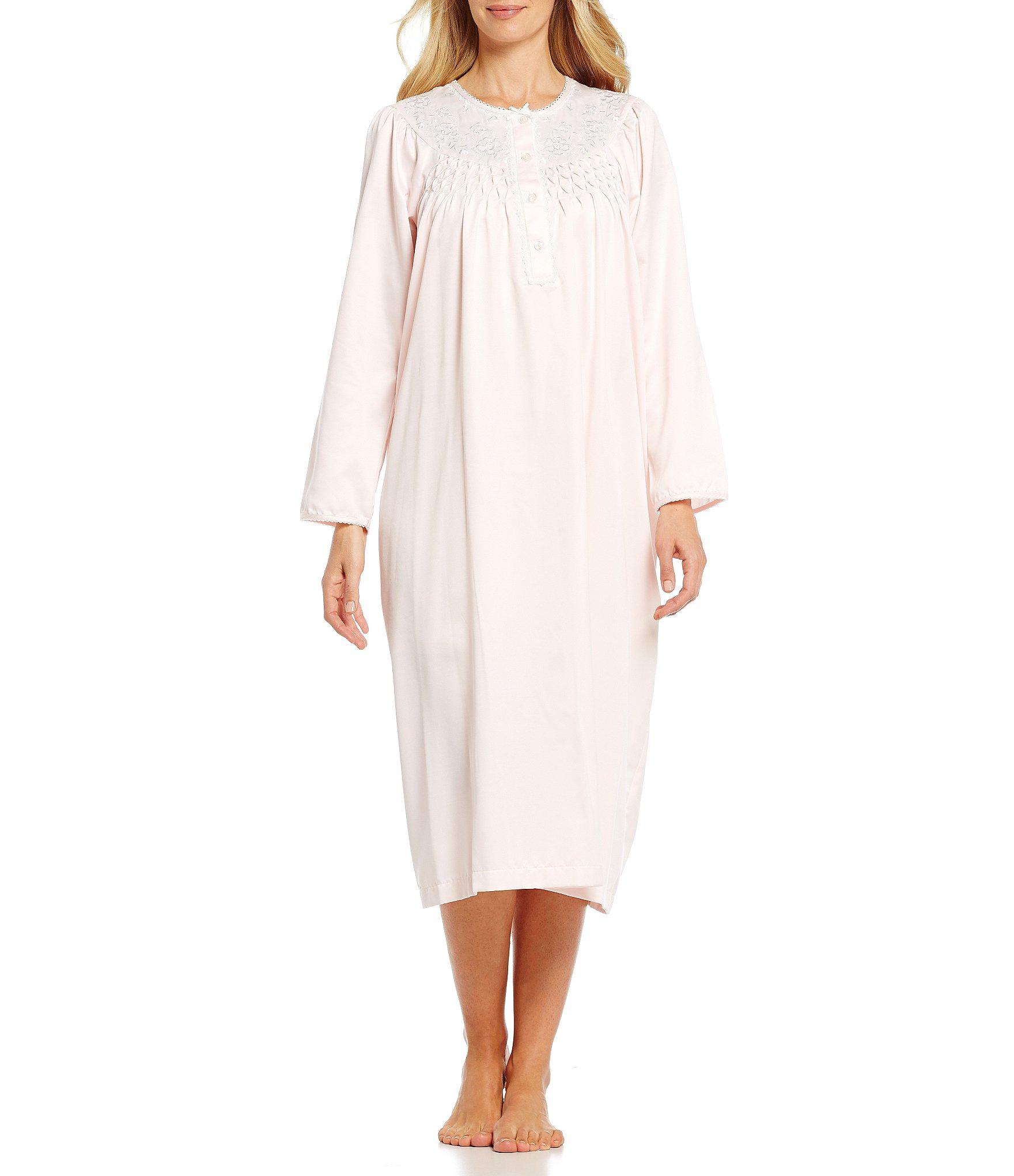 5b776dc6ba Lyst - Miss Elaine Petite Brushed Back Satin Embroidered Nightgown ...