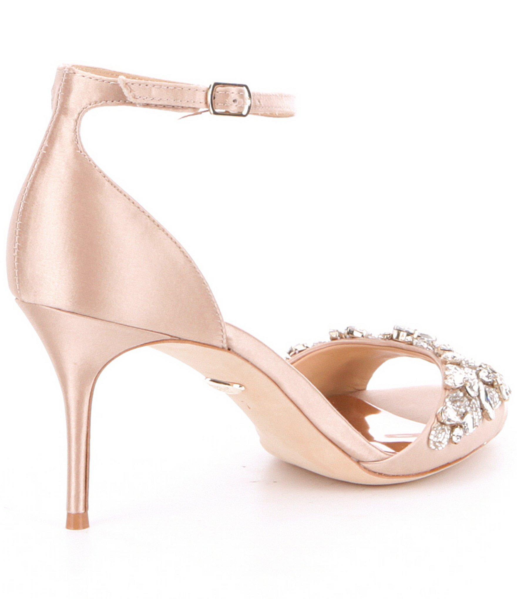 f6800d72d94 Lyst - Badgley Mischka Bankston Jeweled Satin Ankle Strap Dress ...
