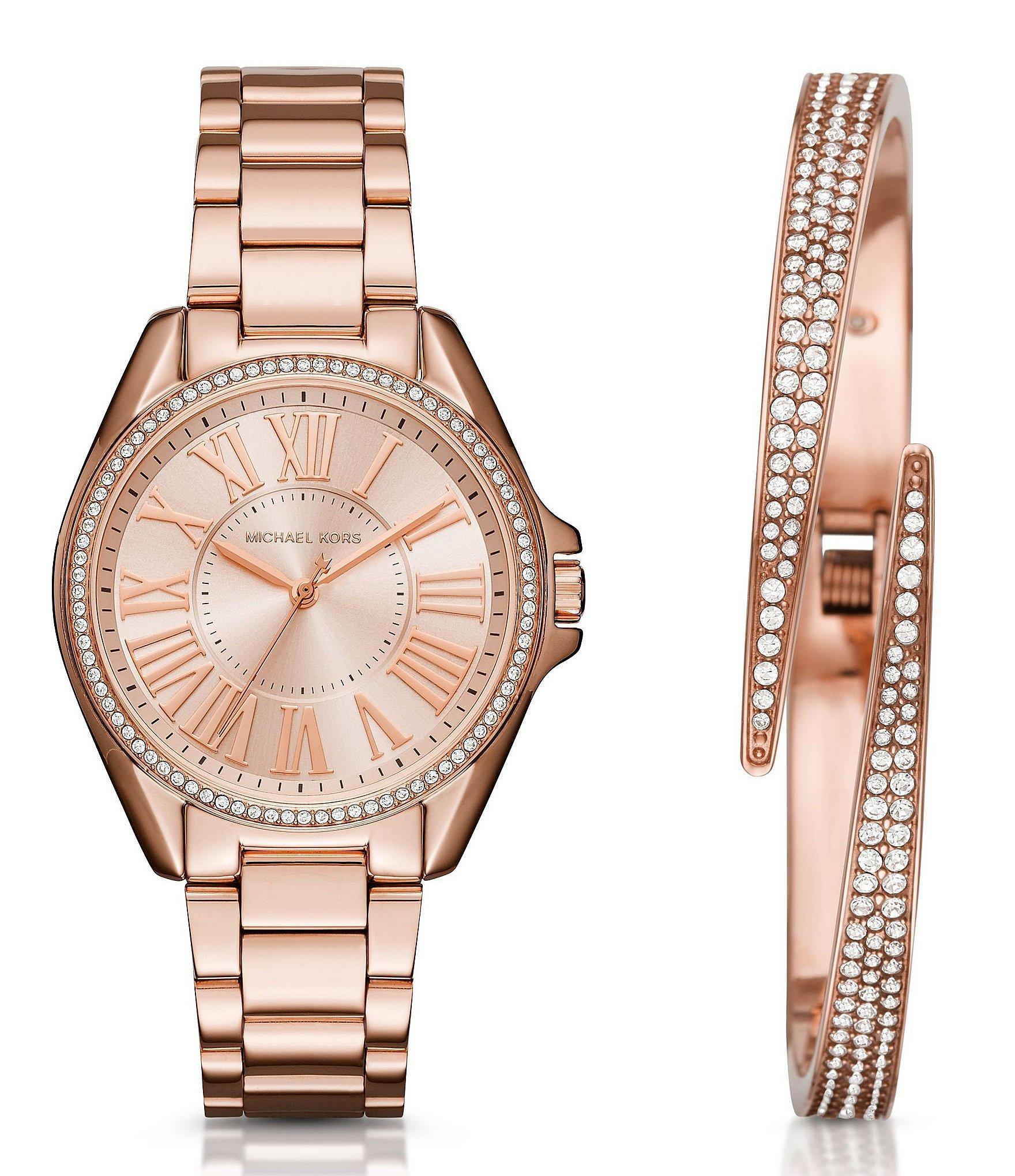 997d8070f774 Lyst - Michael Kors Kacie Analog Bracelet Watch   Pavé Bangle ...