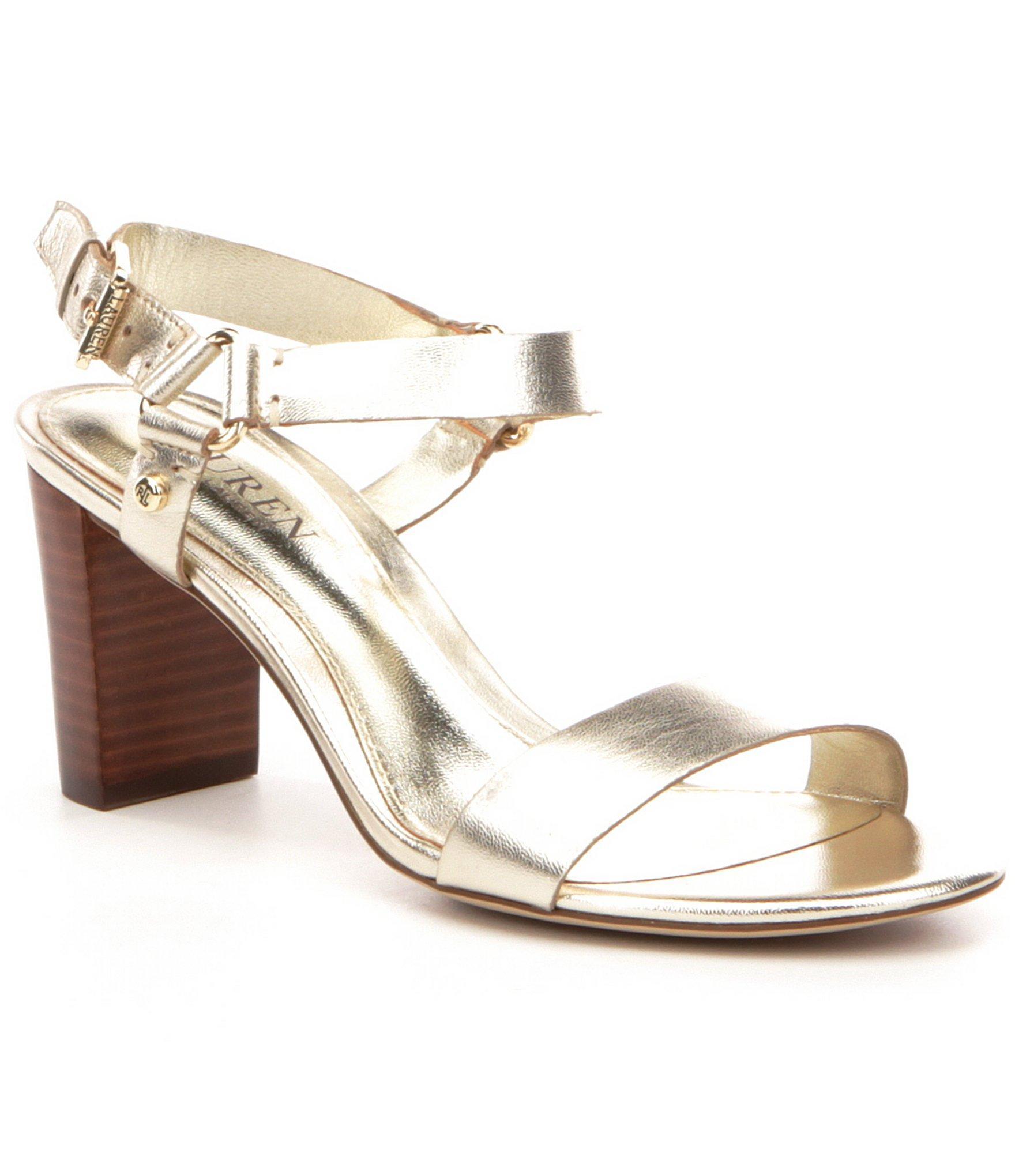 7cd642fd3fe Lyst - Lauren by Ralph Lauren Harri City Leather Ankle Strap Sandals