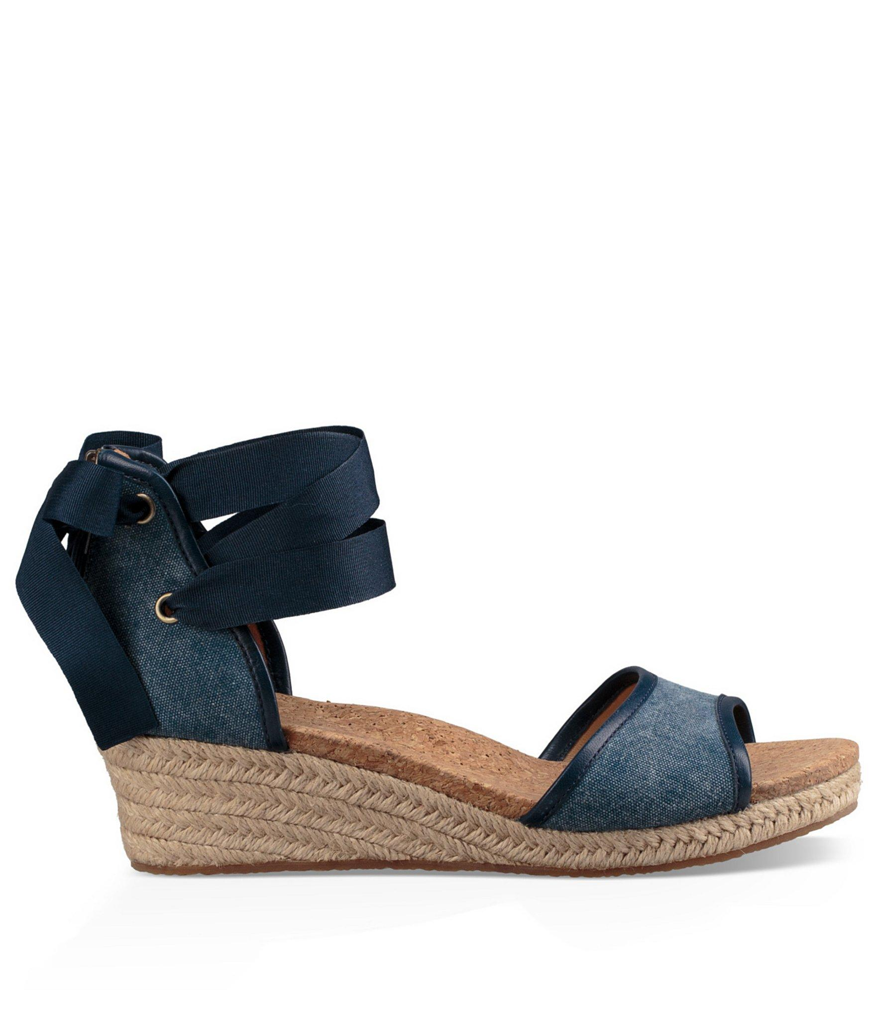 Lyst Ugg 174 Amell Canvas Wedge Espadrilles In Blue