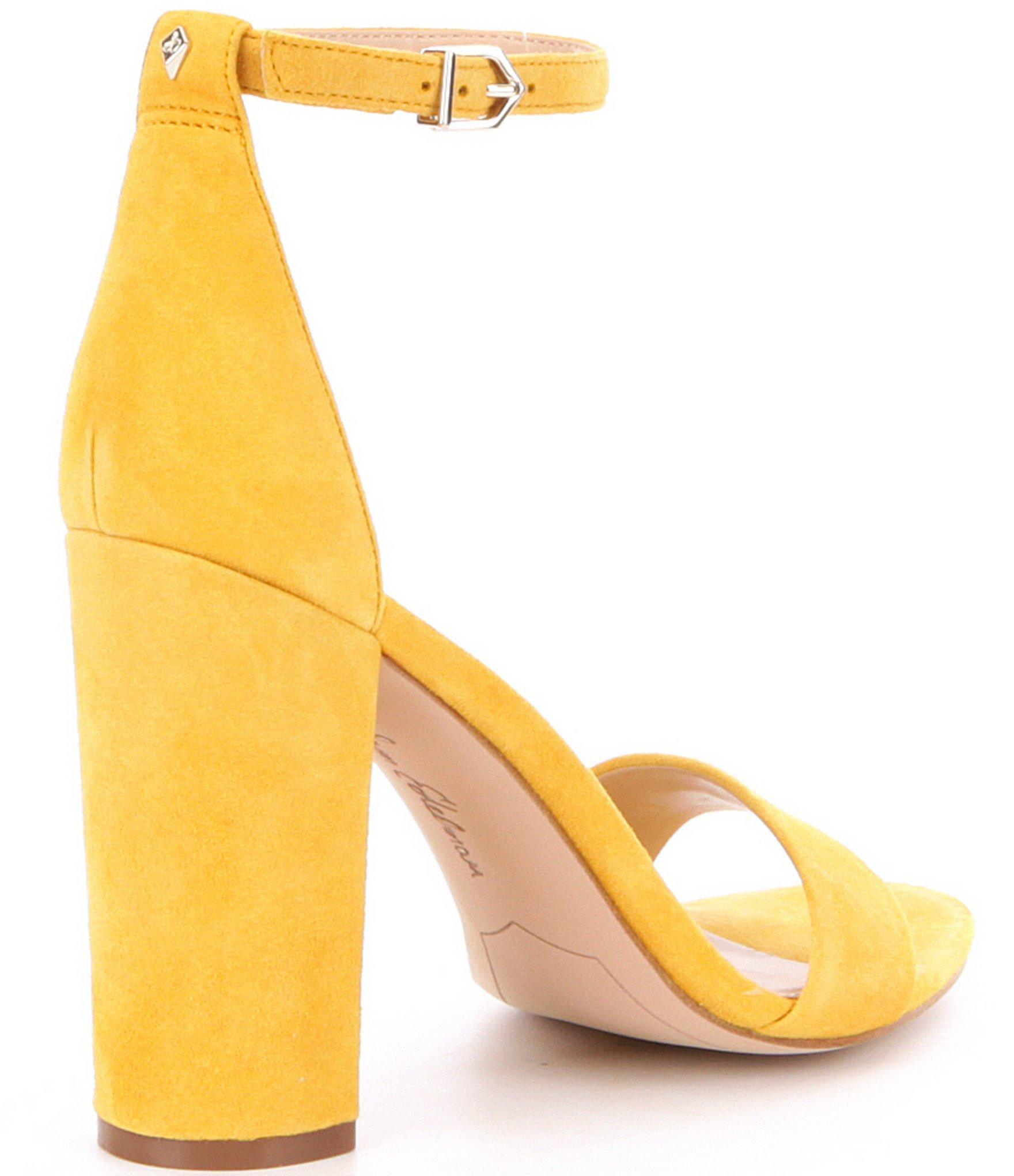 9657693603fb Lyst - Sam Edelman Yaro Suede Block Heel Dress Sandals in Yellow