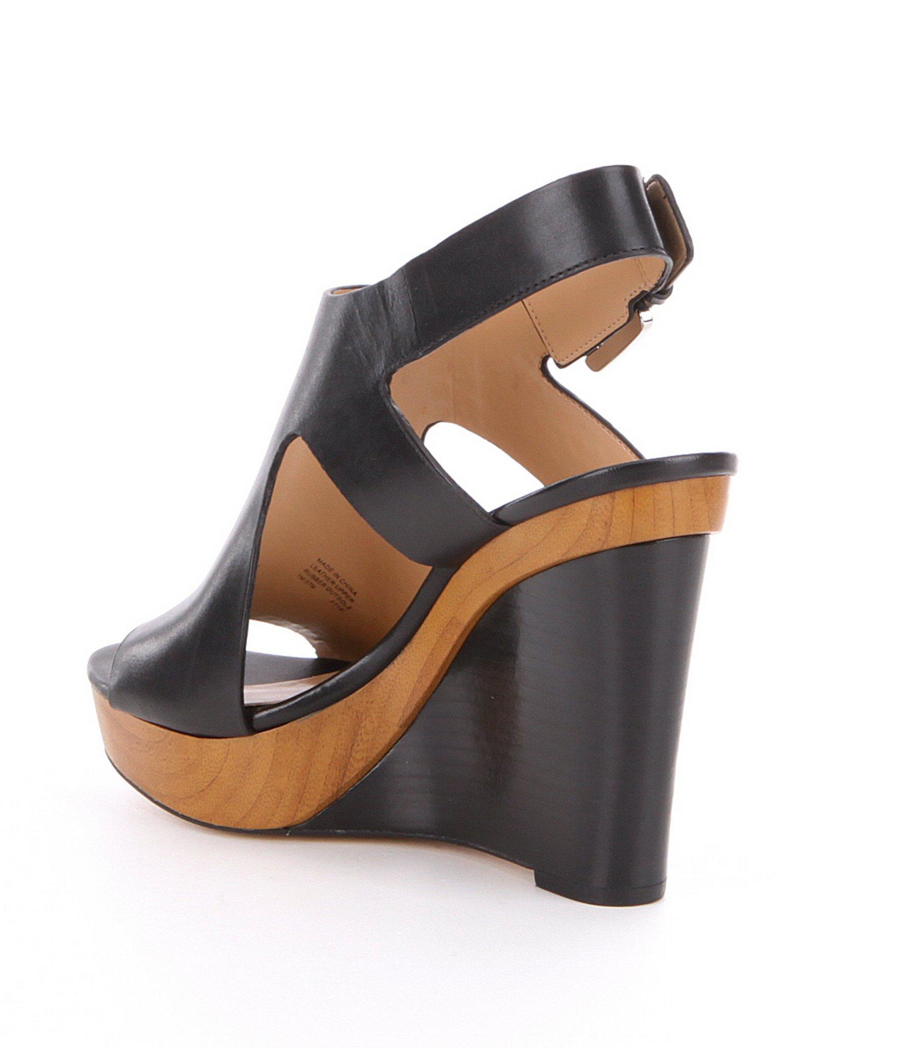 Josephine Leather Peep Toe Wedges Y32O5UL7QO