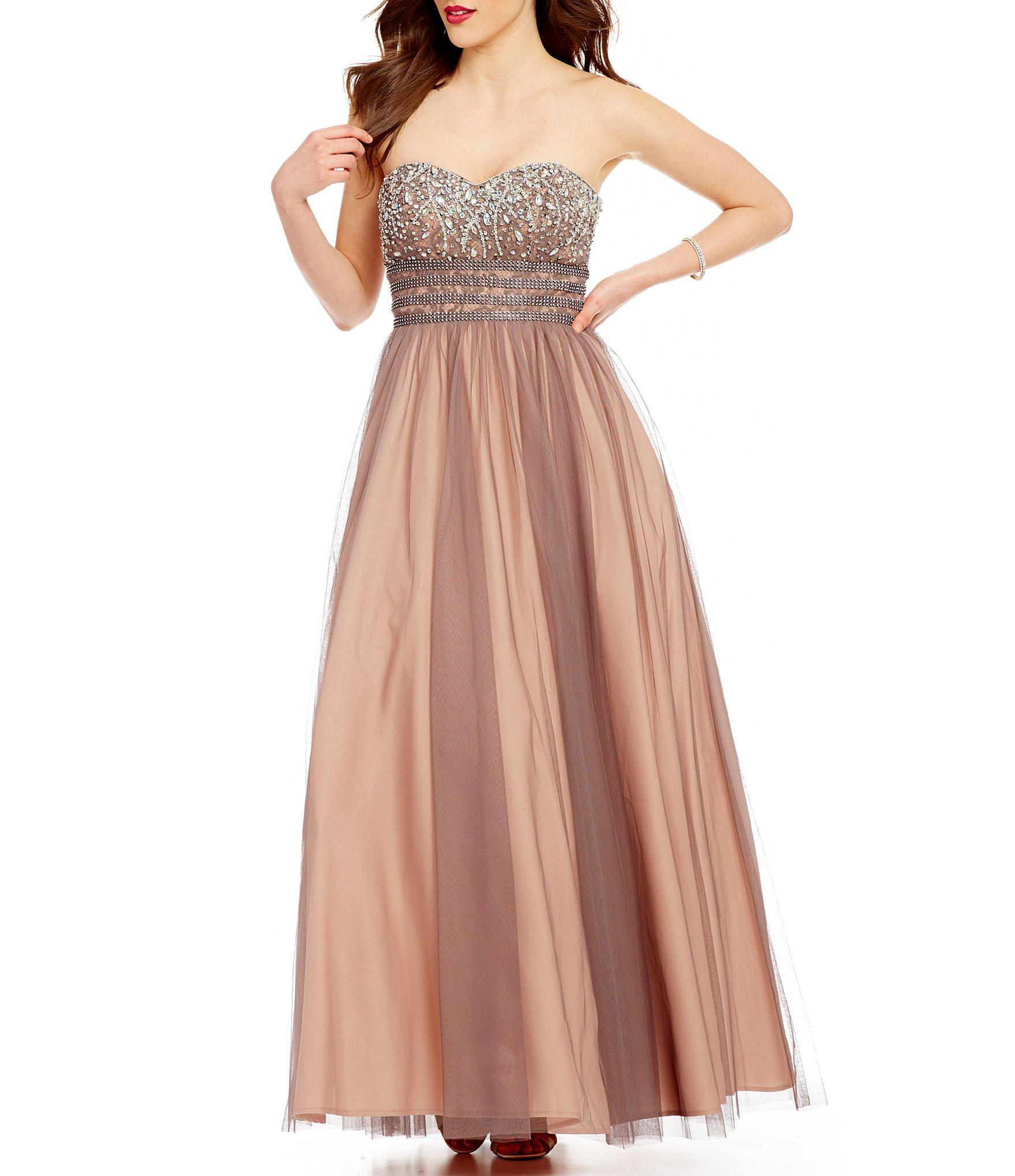 7c56a7b245 Blondie Nites Two-tone Beaded Strapless Sweetheart Neck Ball Gown - Lyst