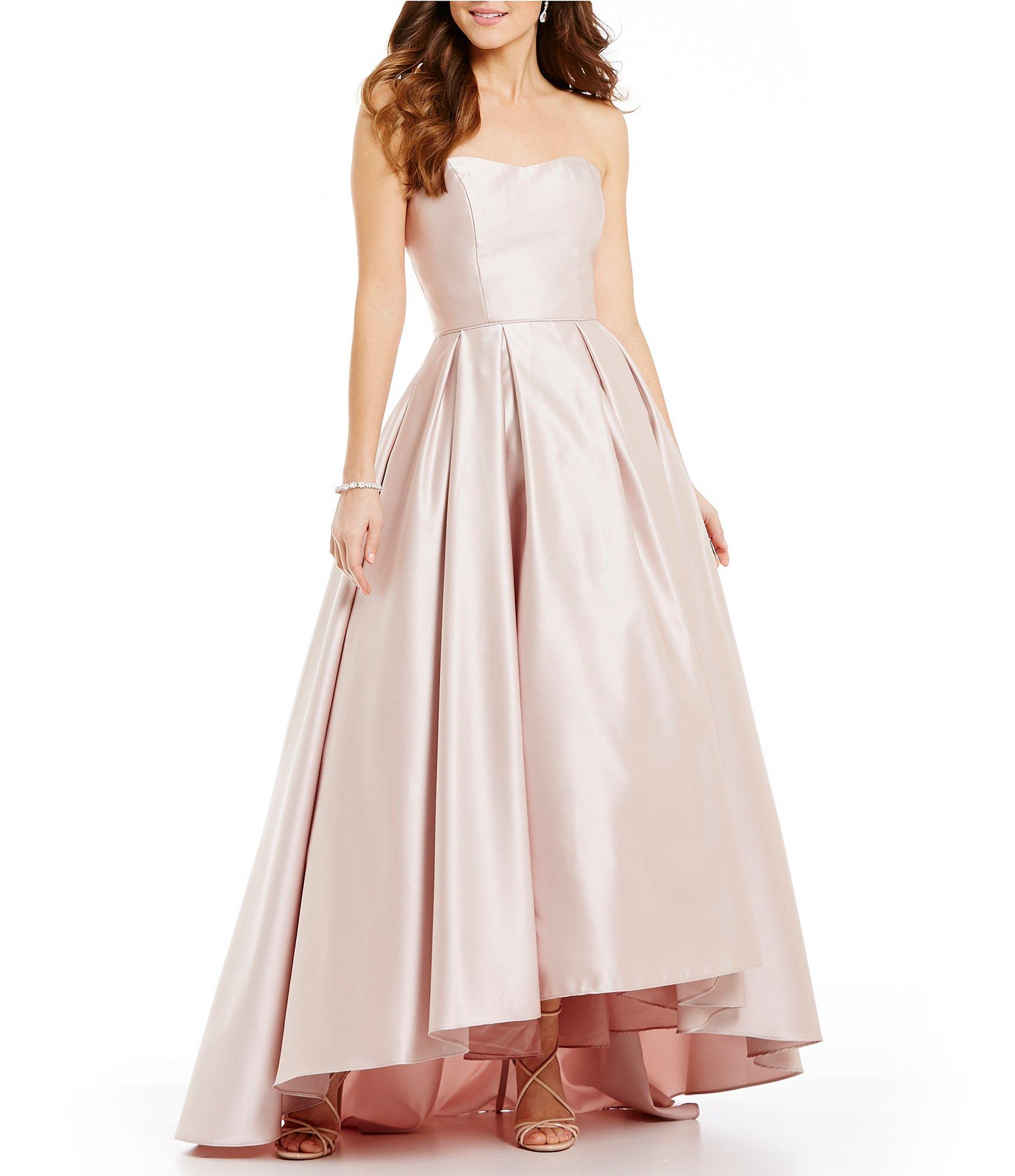 Lyst - Betsy & Adam Strapless Sweetheart Hi-low Ball Gown in Natural