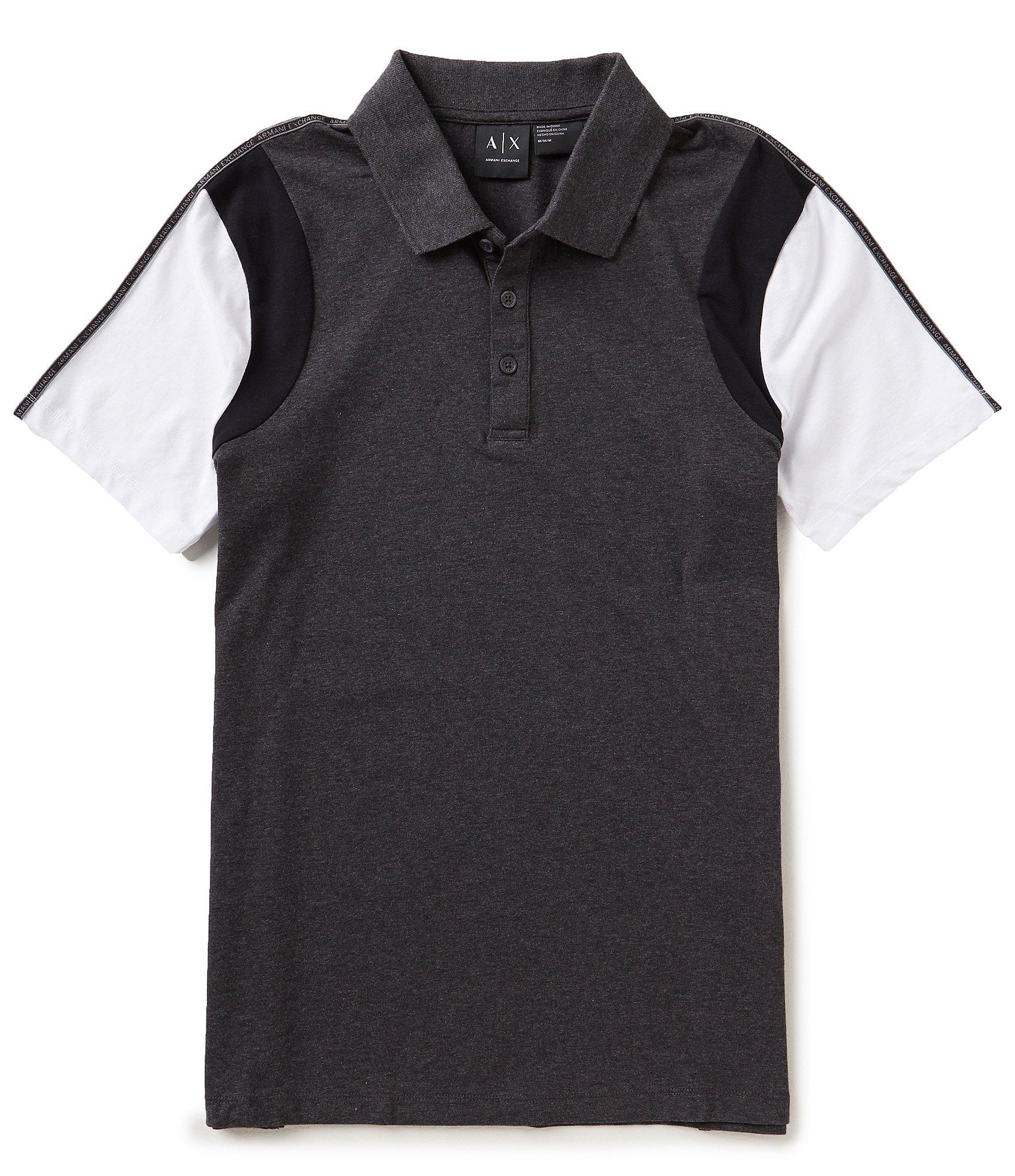 Lyst armani exchange color block short sleeve polo shirt for Polo color block shirt