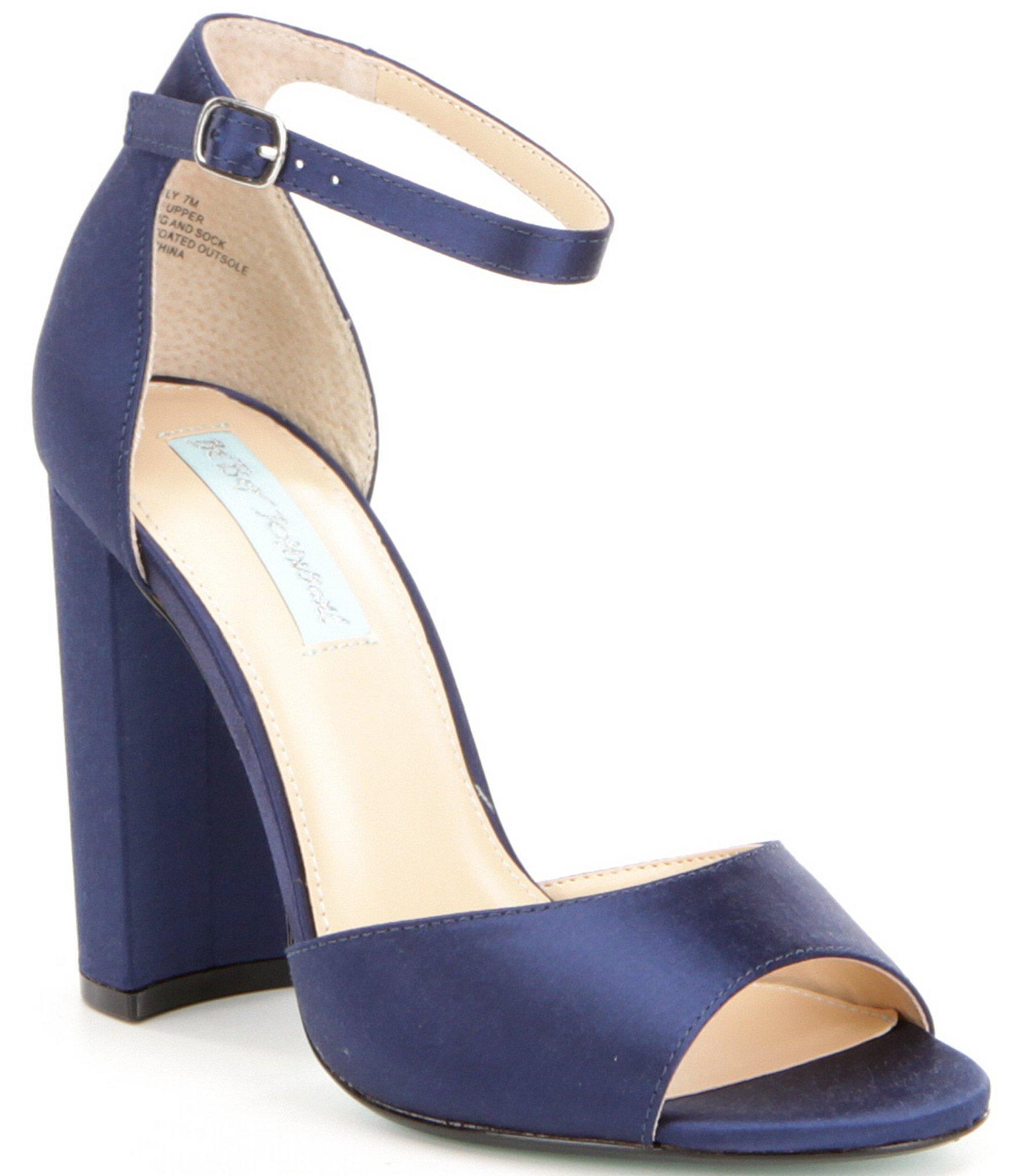 Navy Block Heel Shoes
