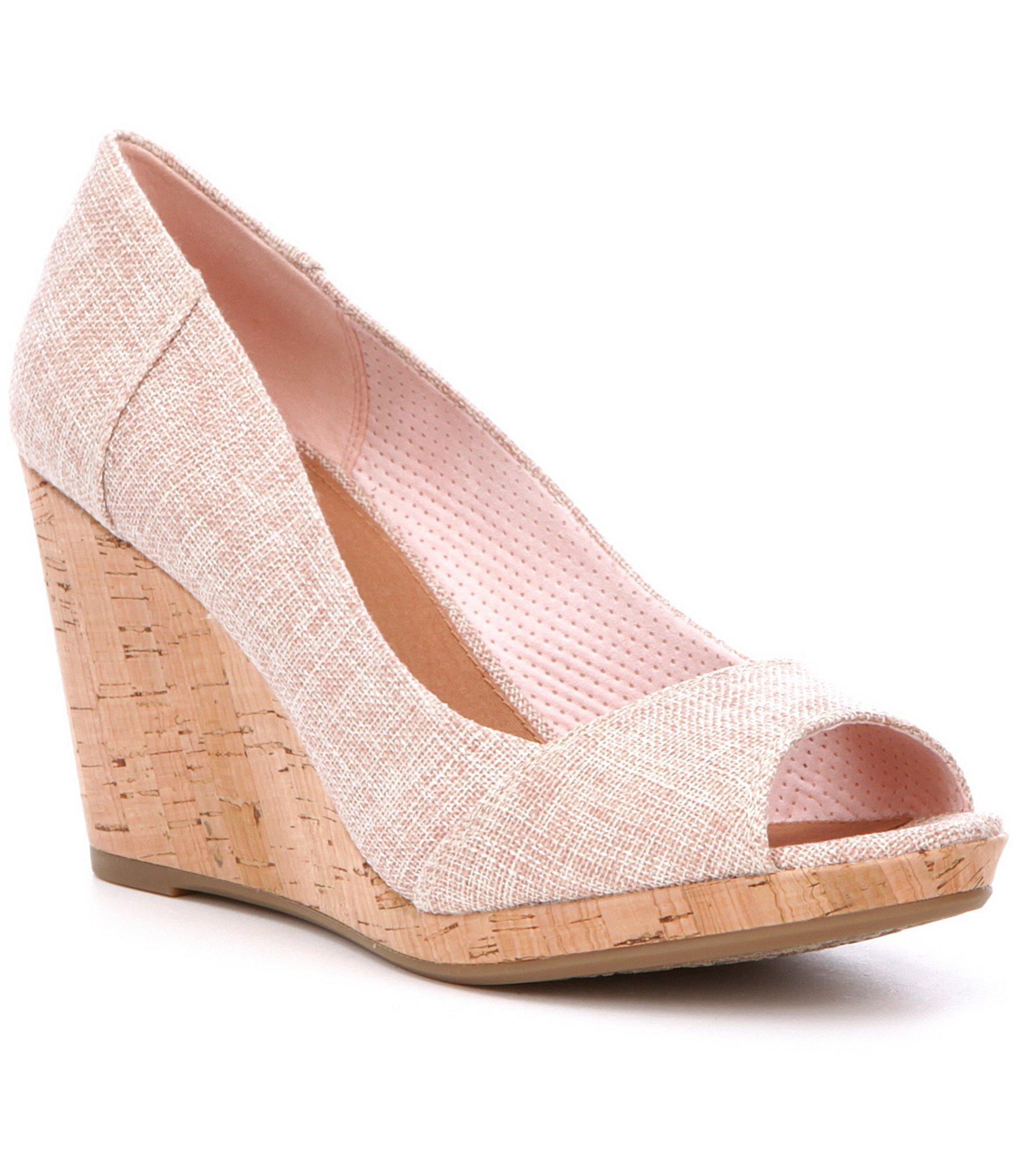 55adff78ead Lyst - TOMS Stella Cork Wedges in Pink