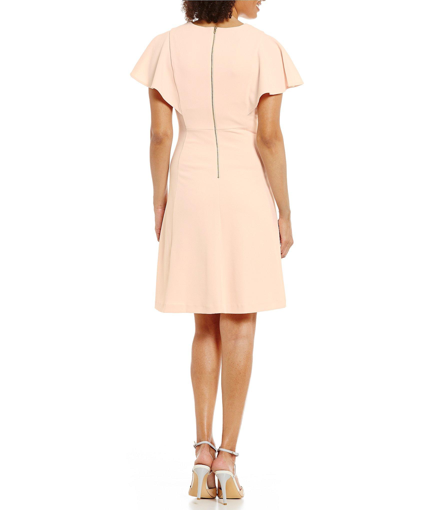 Calvin Klein Ruffle Sleeve Crepe A Line Dress In Pink Lyst