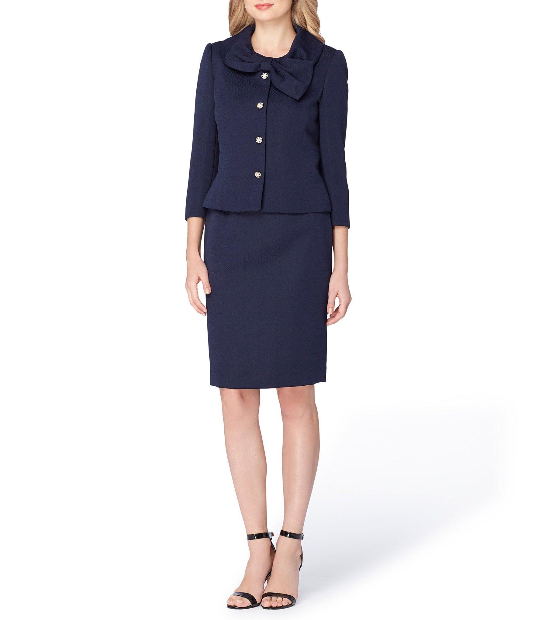 tahari bow neck jacquard 2 skirt suit in blue lyst