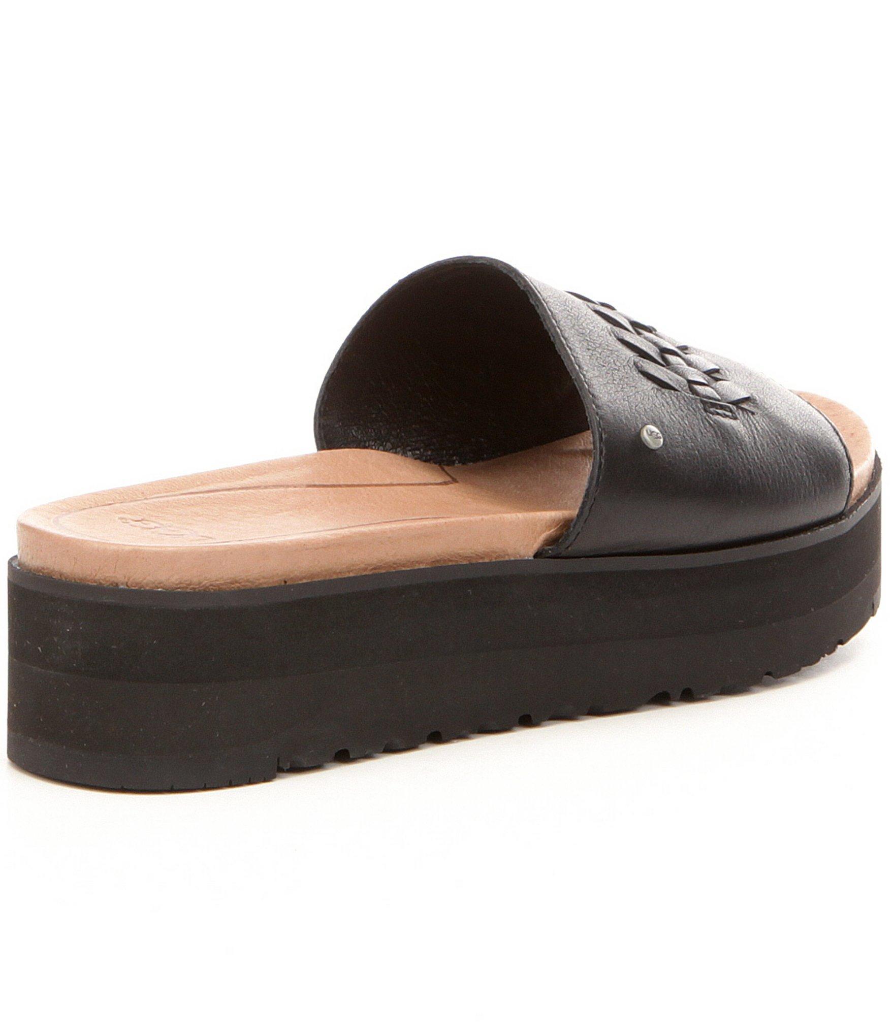 Ugg 174 Delaney Braided Leather Slide Sandals In Black Lyst
