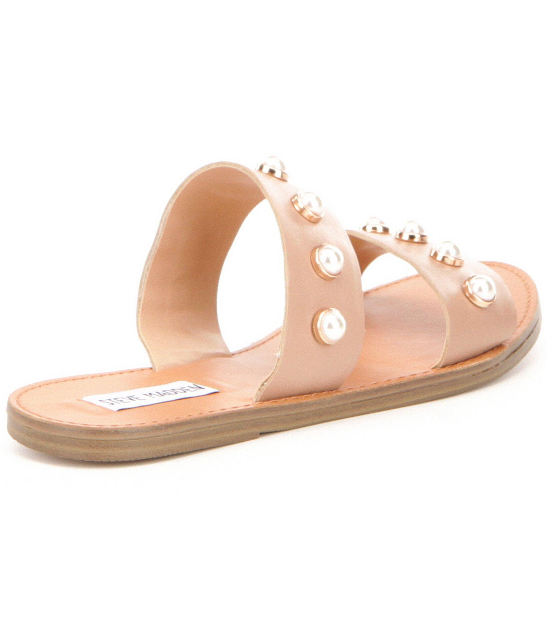 2b20be0f6470 Lyst - Steve Madden Jole Faux-pearl Slide-on Sandals