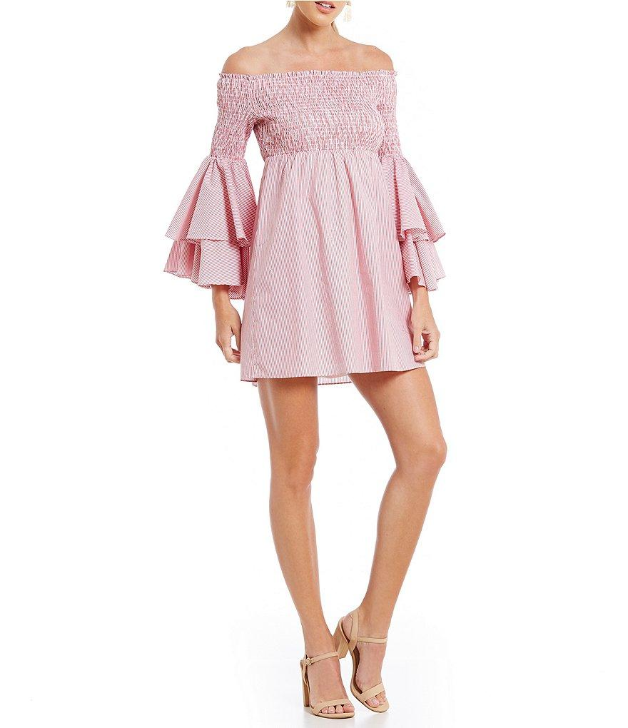 38cc2d1fed1 Gianni Bini Savannah Smocked Off The Shoulder Dress in Pink - Lyst