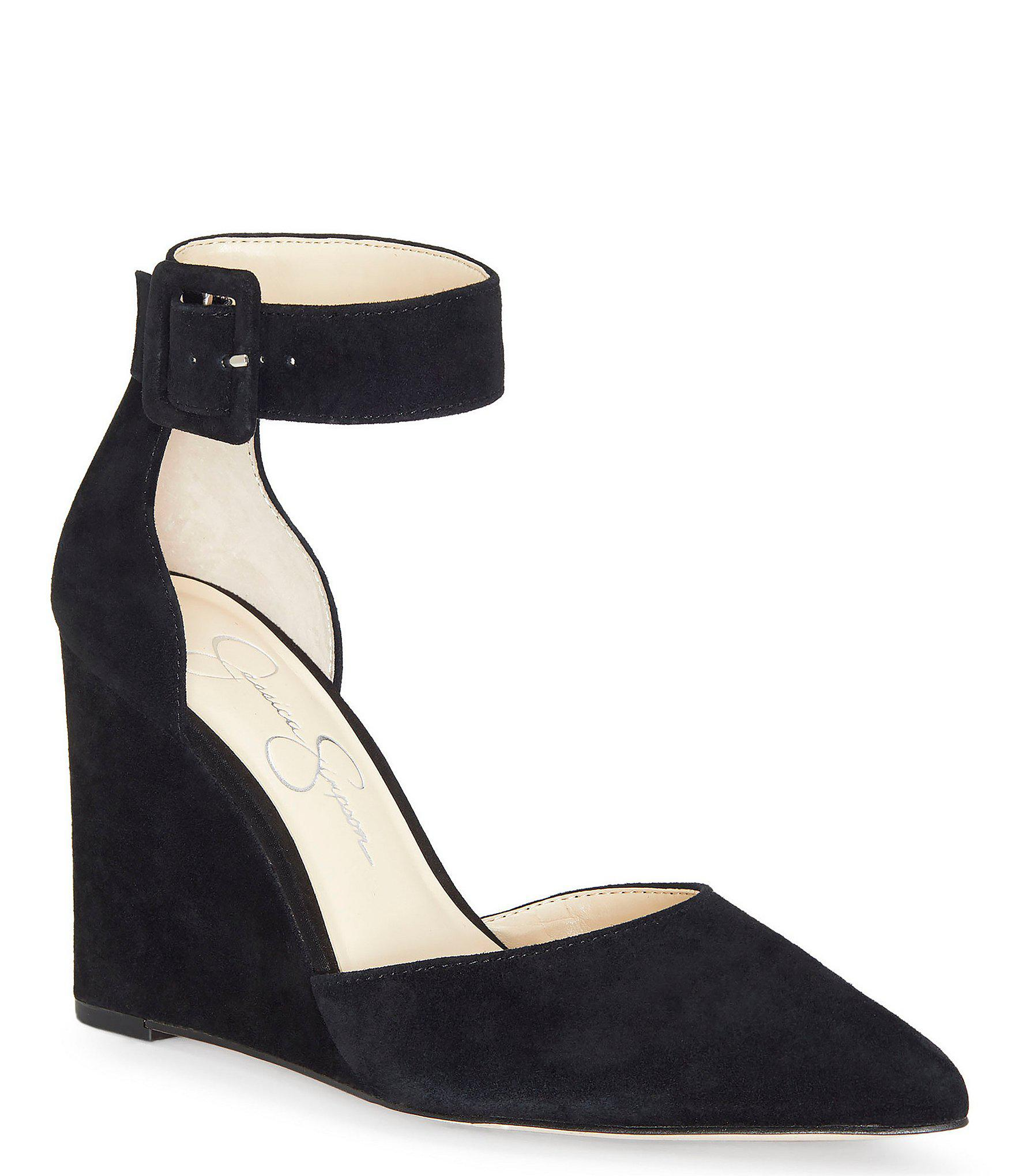 69a737c4cba9 Lyst - Jessica Simpson Moyra Suede Ankle-strap Wedges in Black
