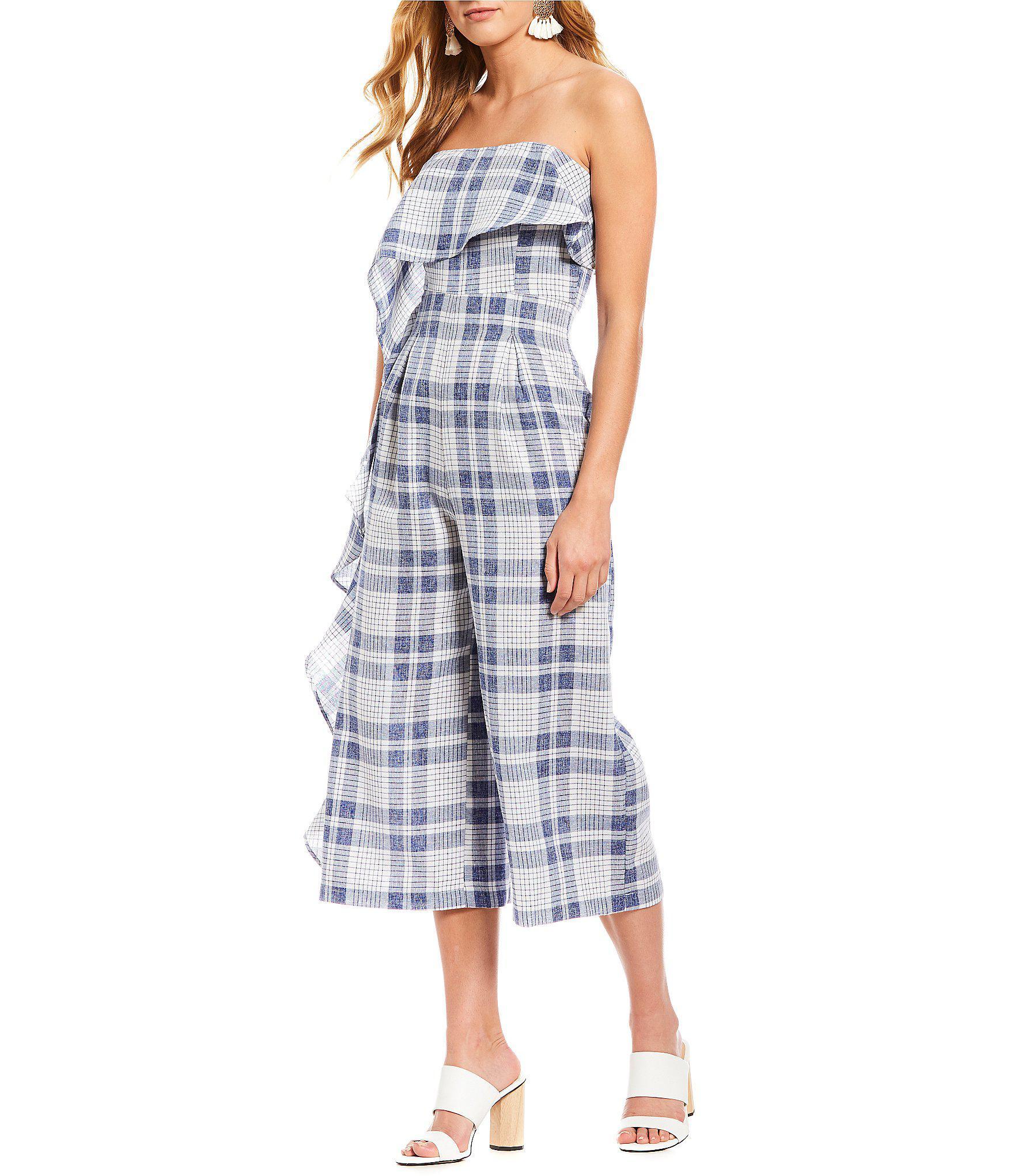 9365e451433 Lyst - Gianni Bini Clouse Plaid Ruffle Front Culotte Jumpsuit in Blue