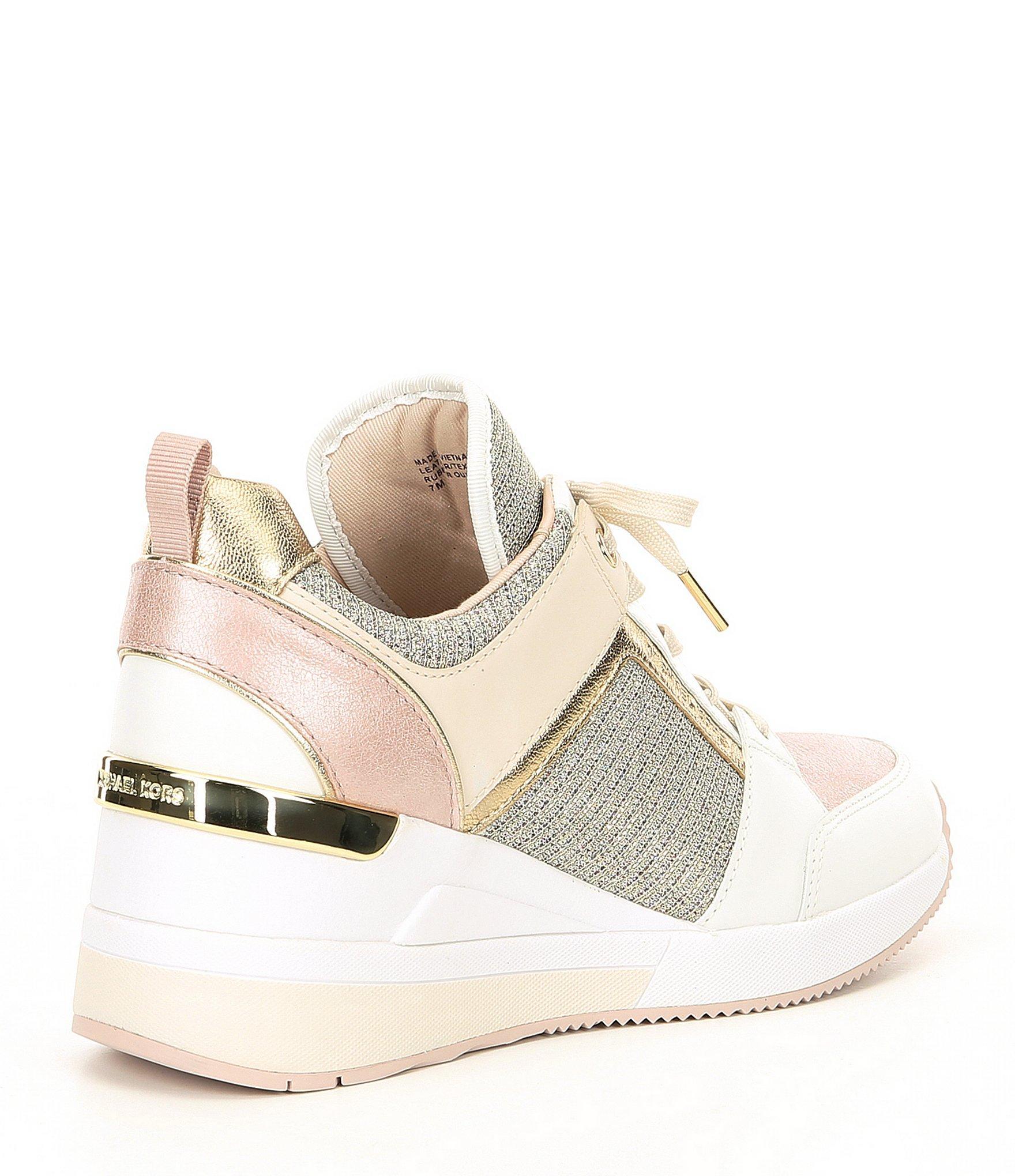 a511e756482 MICHAEL Michael Kors - Pink Georgie Leather   Glitter Fabric Wedge Trainers  - Lyst. View fullscreen