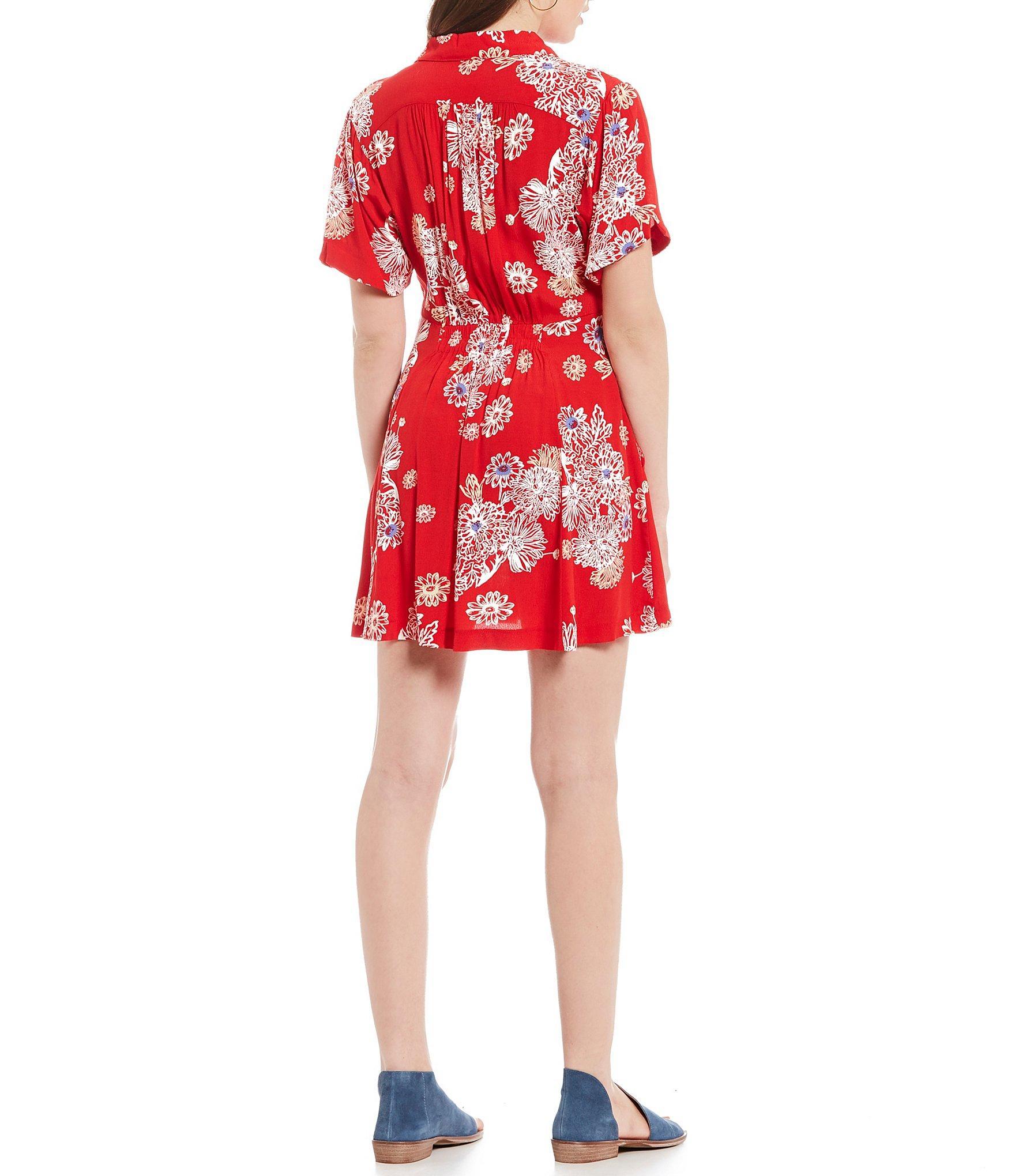 03f00254e2a Free People Hawaii Floral Print A-line Mini Dress in Red - Lyst