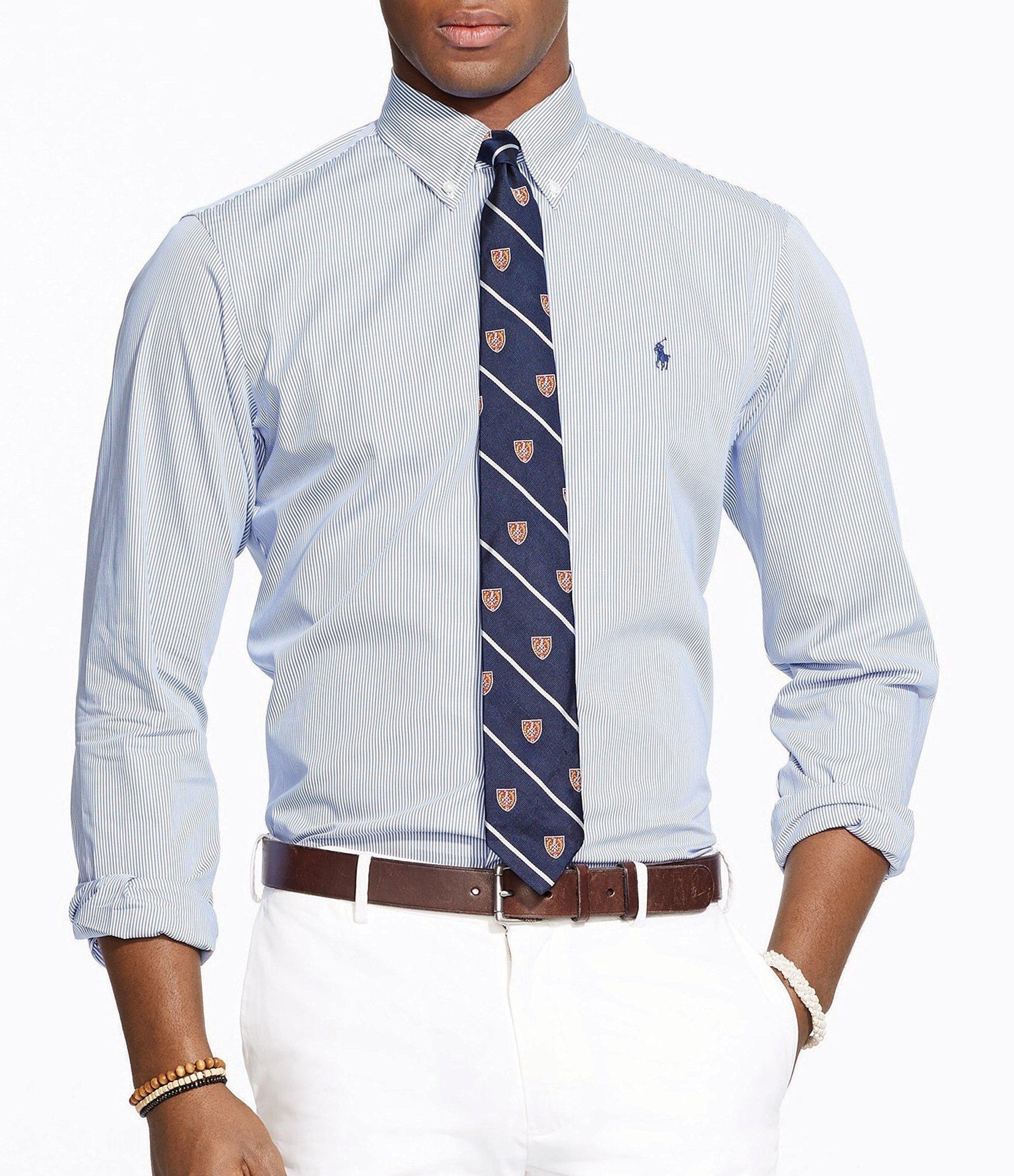 fe5e467c3f Lyst - Polo Ralph Lauren Hairline-striped Poplin Shirt in Blue for Men