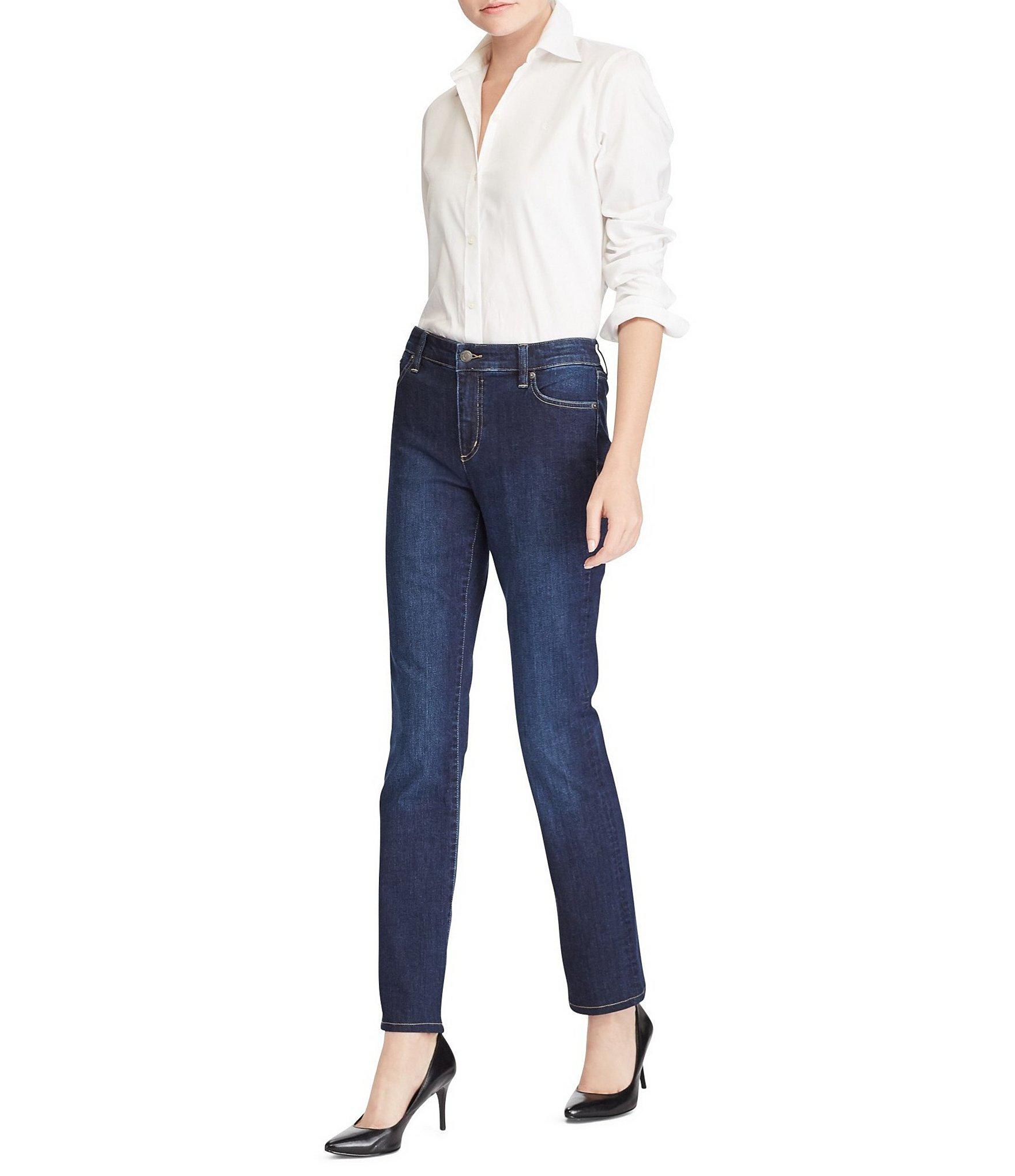 0e8998e352cf5 Lauren by Ralph Lauren - Blue Stretch Denim Premier Straight-leg Jeans -  Lyst. View fullscreen