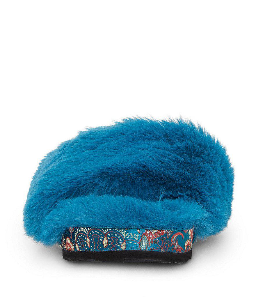 Gema Fuzzy Plush Faux Fur Slide Sandals v2iNfju