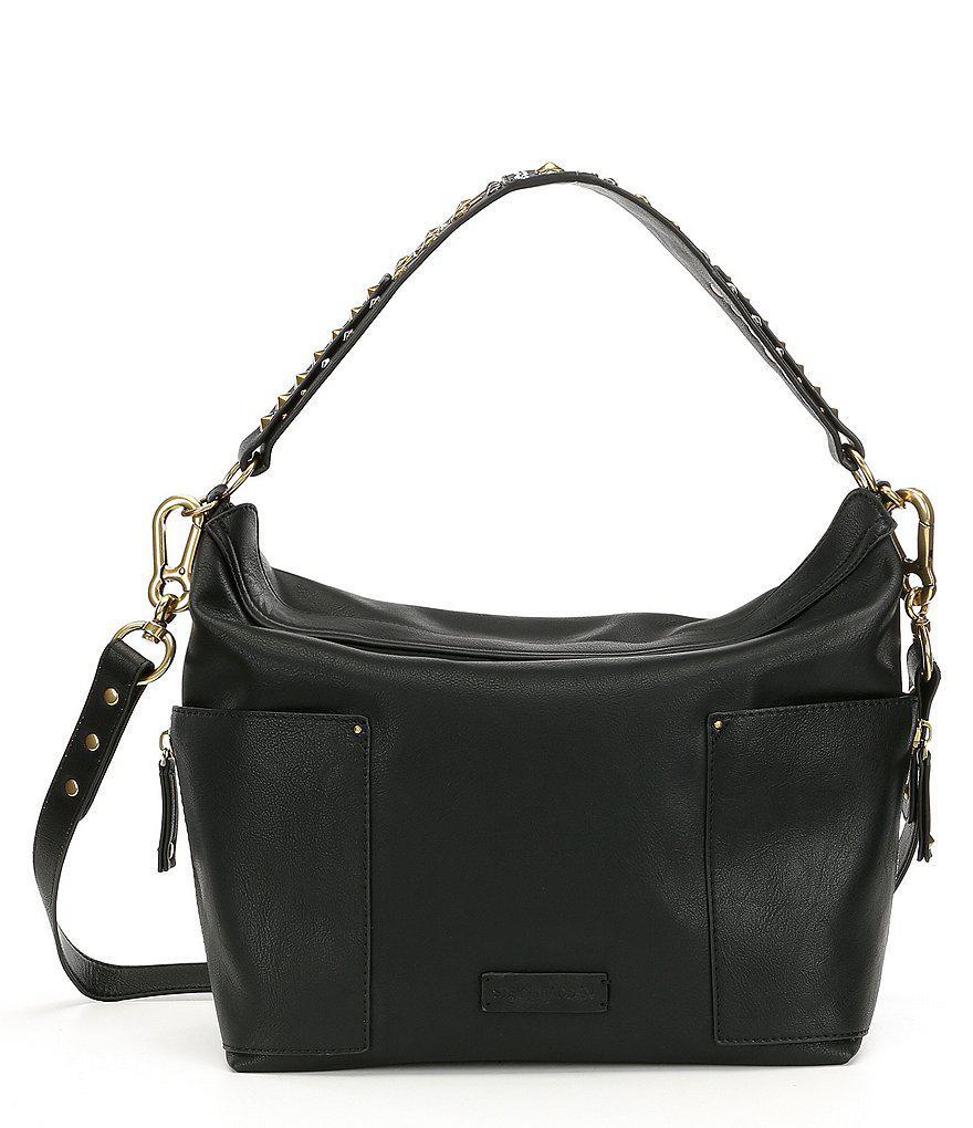 d8b7c7b4da1 Lyst - Steve Madden Linda Hobo Bag With Studded Strap in Black