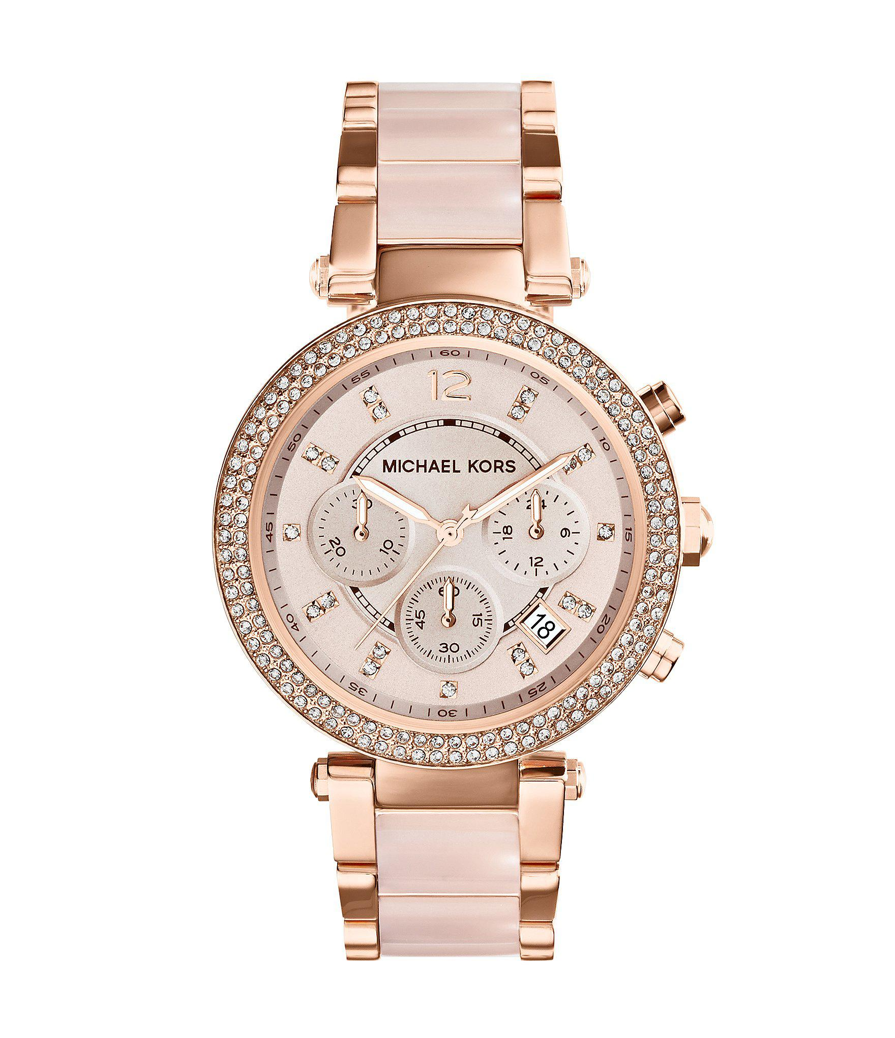 8ade2f4f545 Lyst - Michael Kors Mid-size Rose Golden Stainless Steel Parker ...