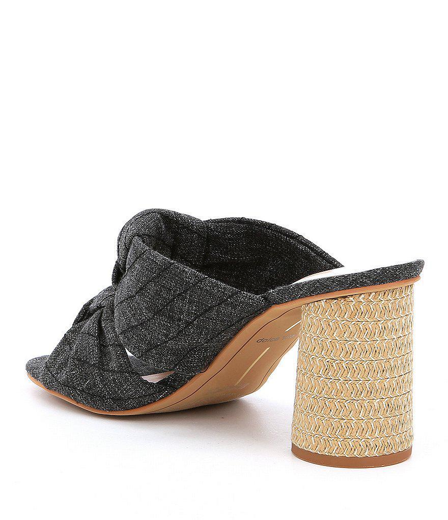 Jene Denim Double Knot Block Heel Sandals RN1hi